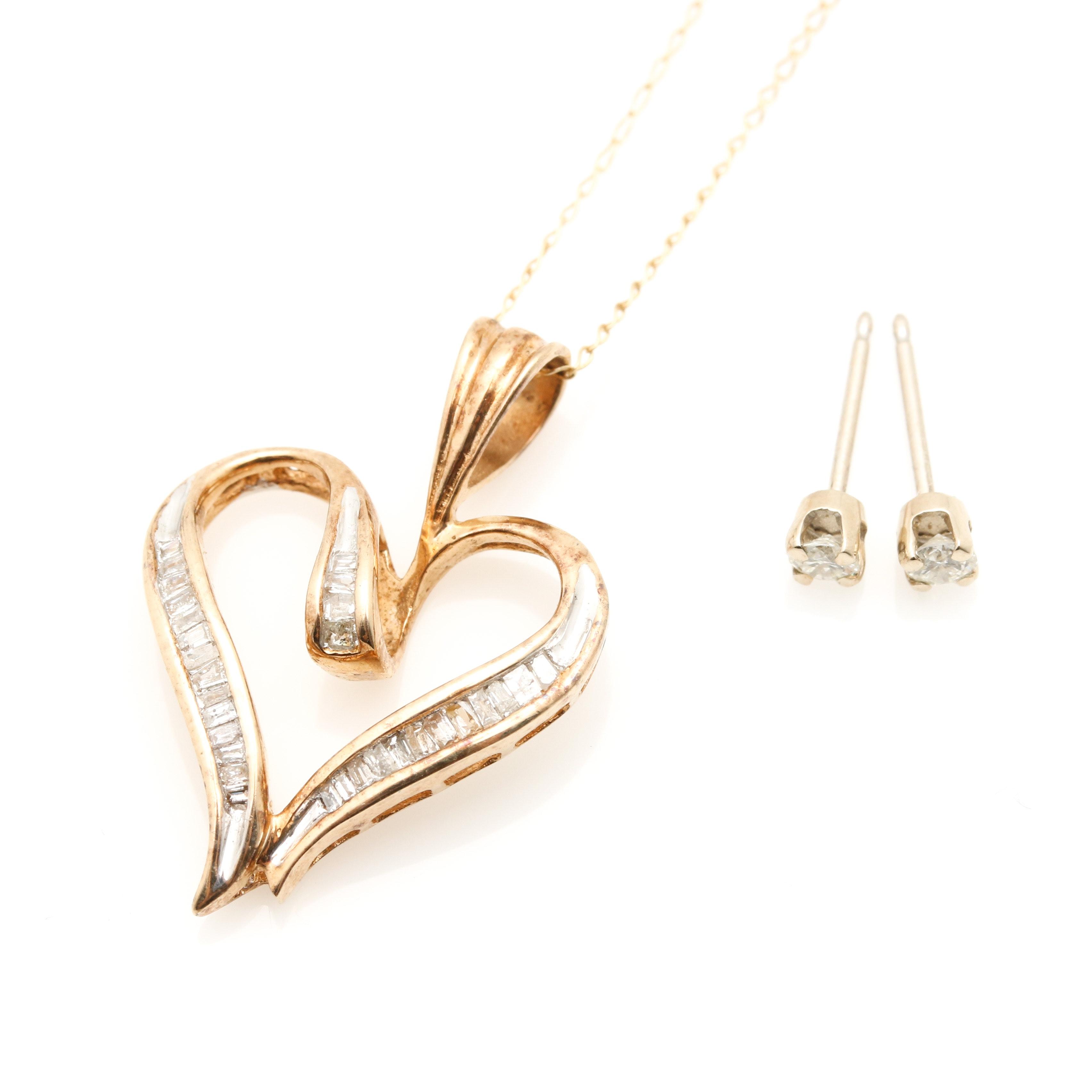 10K Yellow Gold and 14K White Gold Diamond Jewelry