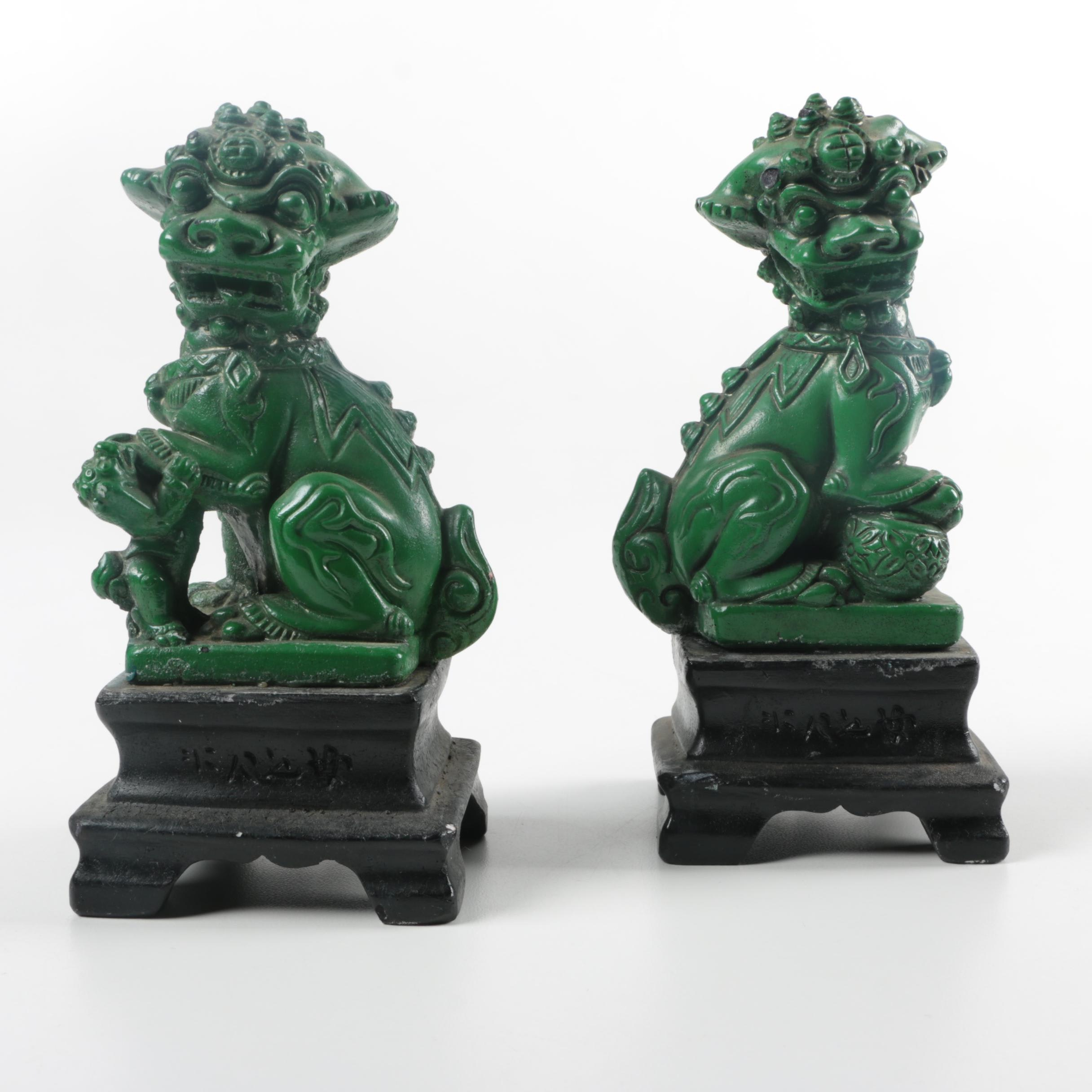 Green Guardian Lion Figurines on Black Bases