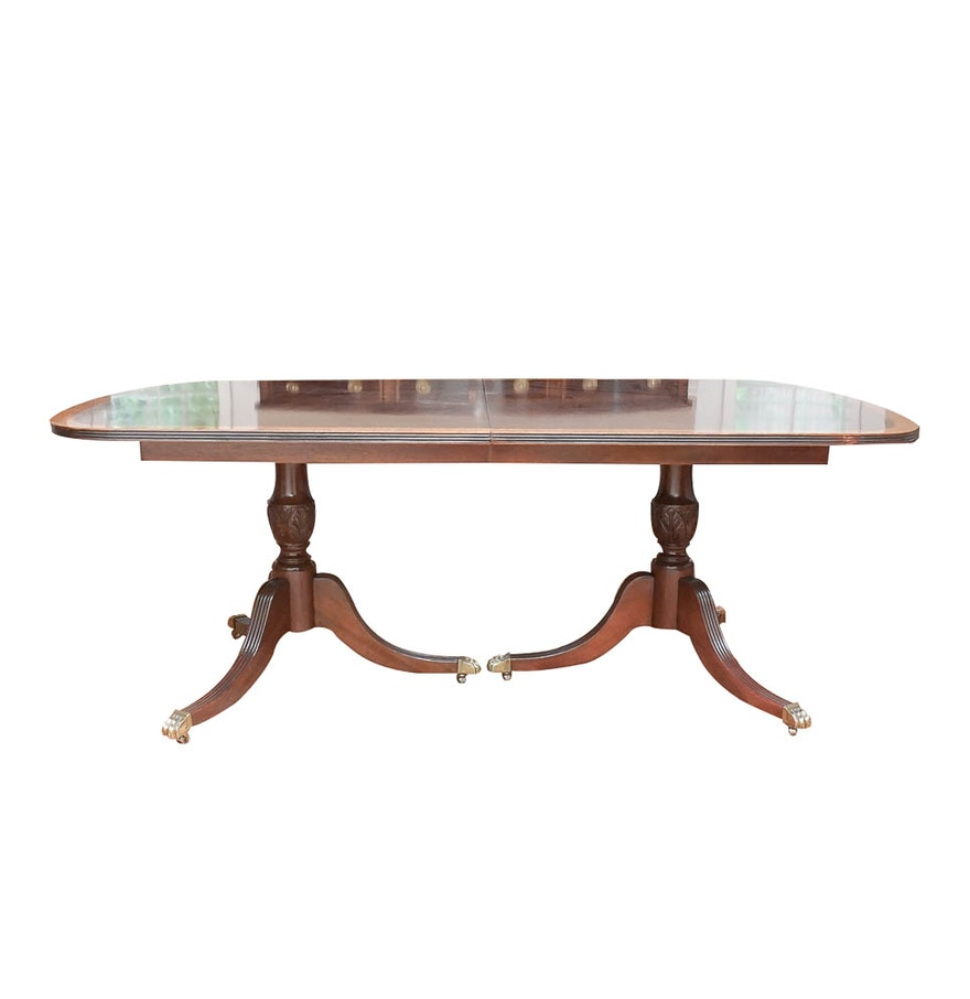 Duncan phyfe style mahogany dining table with leaf inserts for Dining table with leaf insert