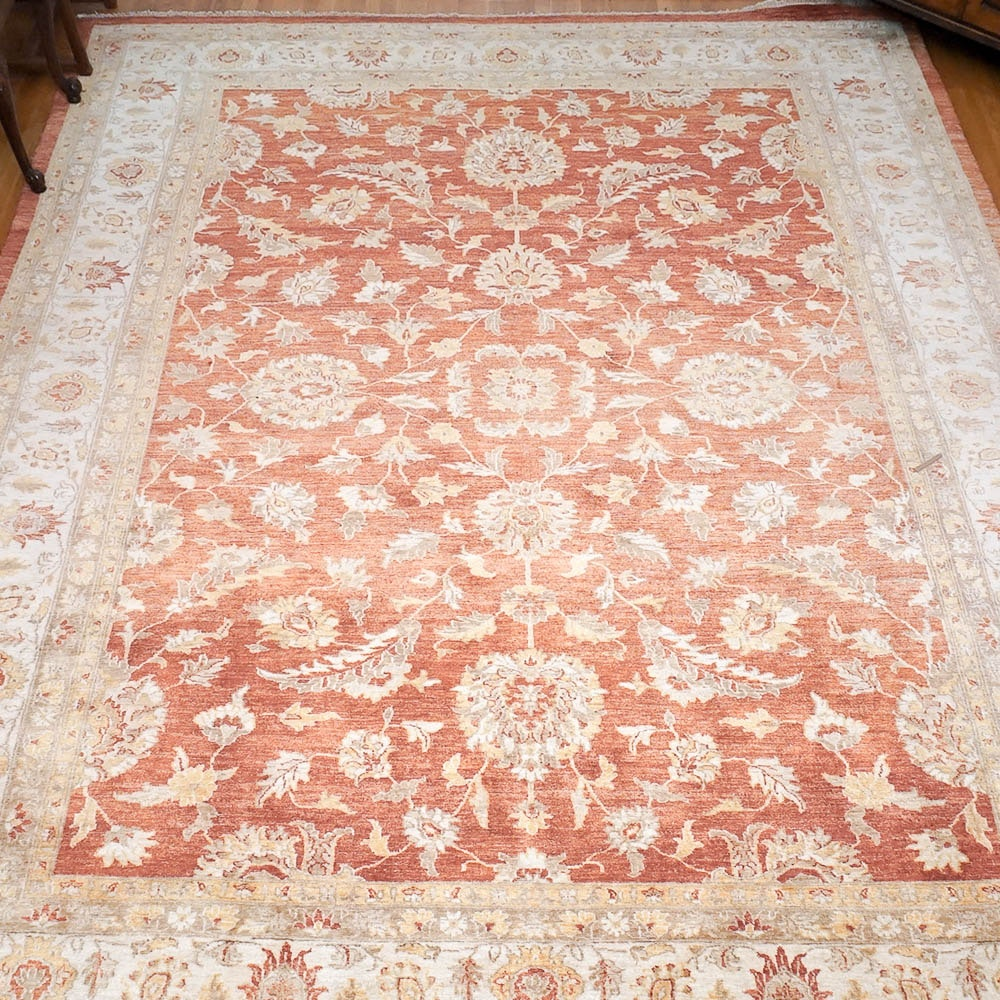 Hand-Knotted Peshawar Wool Area Rug