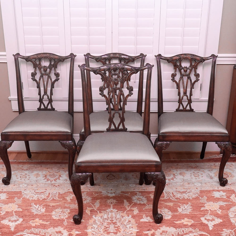 Four Chippendale Style Dining Side Chairs