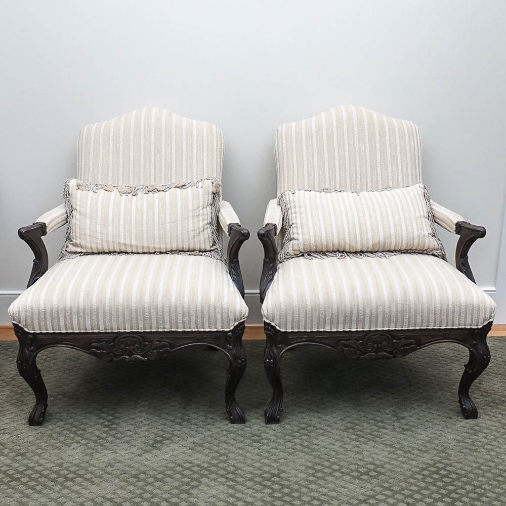 Pair of Lillian August Upholstered Armchairs