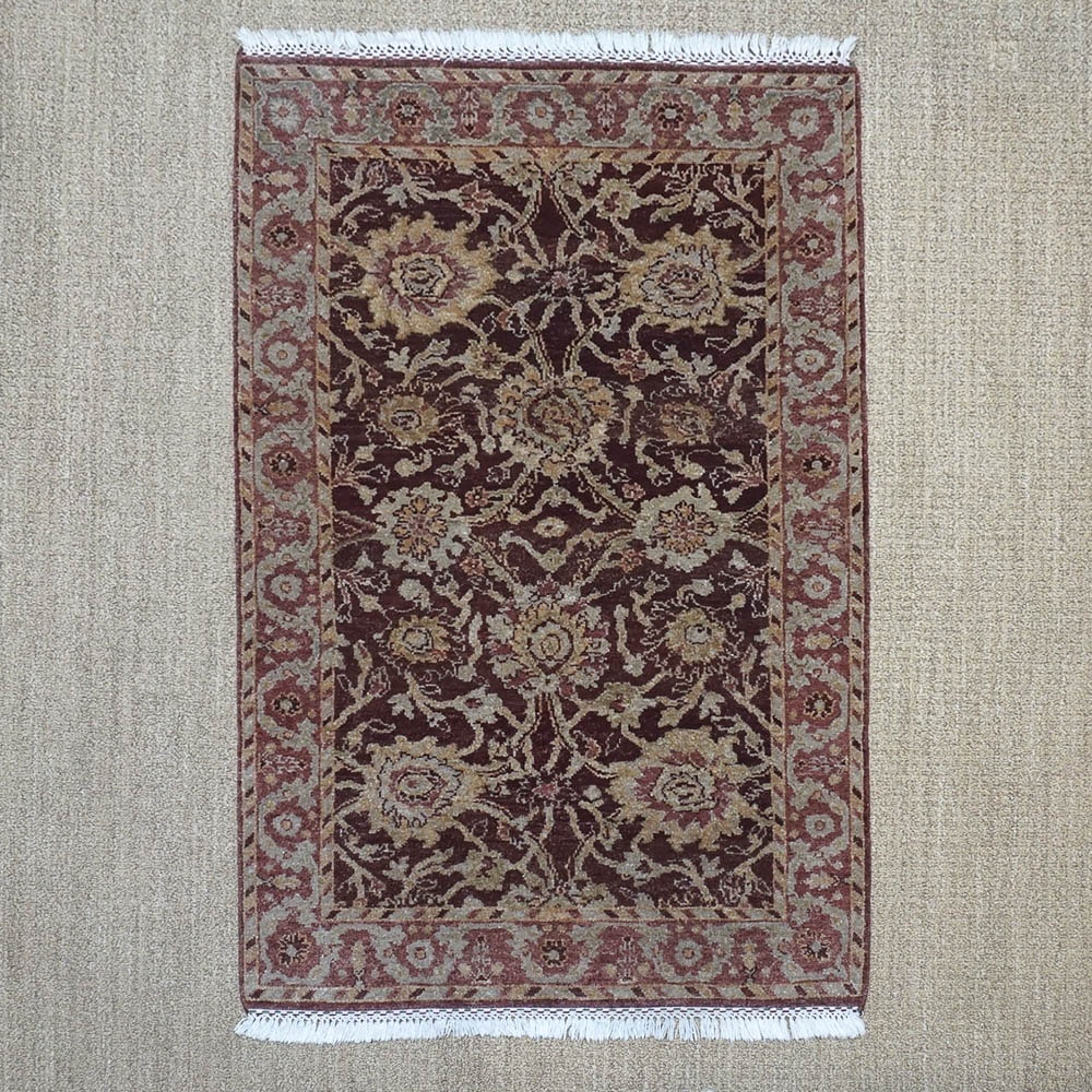 Hand-Knotted Indo-Persian Peshawar Style Wool Accent Rug