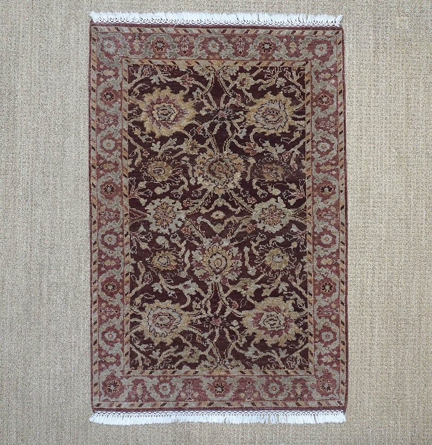 Persian Style Wool Area Rug Ebth: Hand-Knotted Indo-Persian Peshawar Style Wool Accent Rug