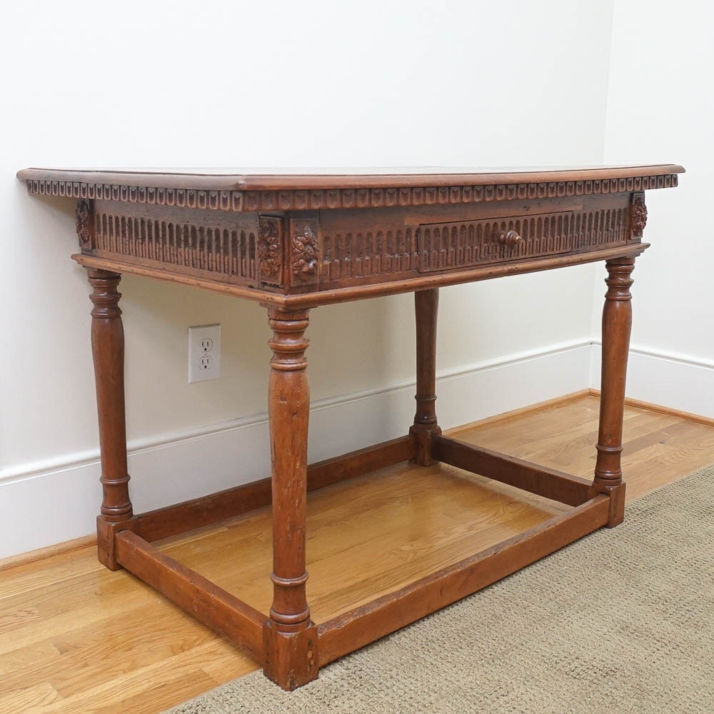 Antique English Jacobean Style Walnut Writing Table