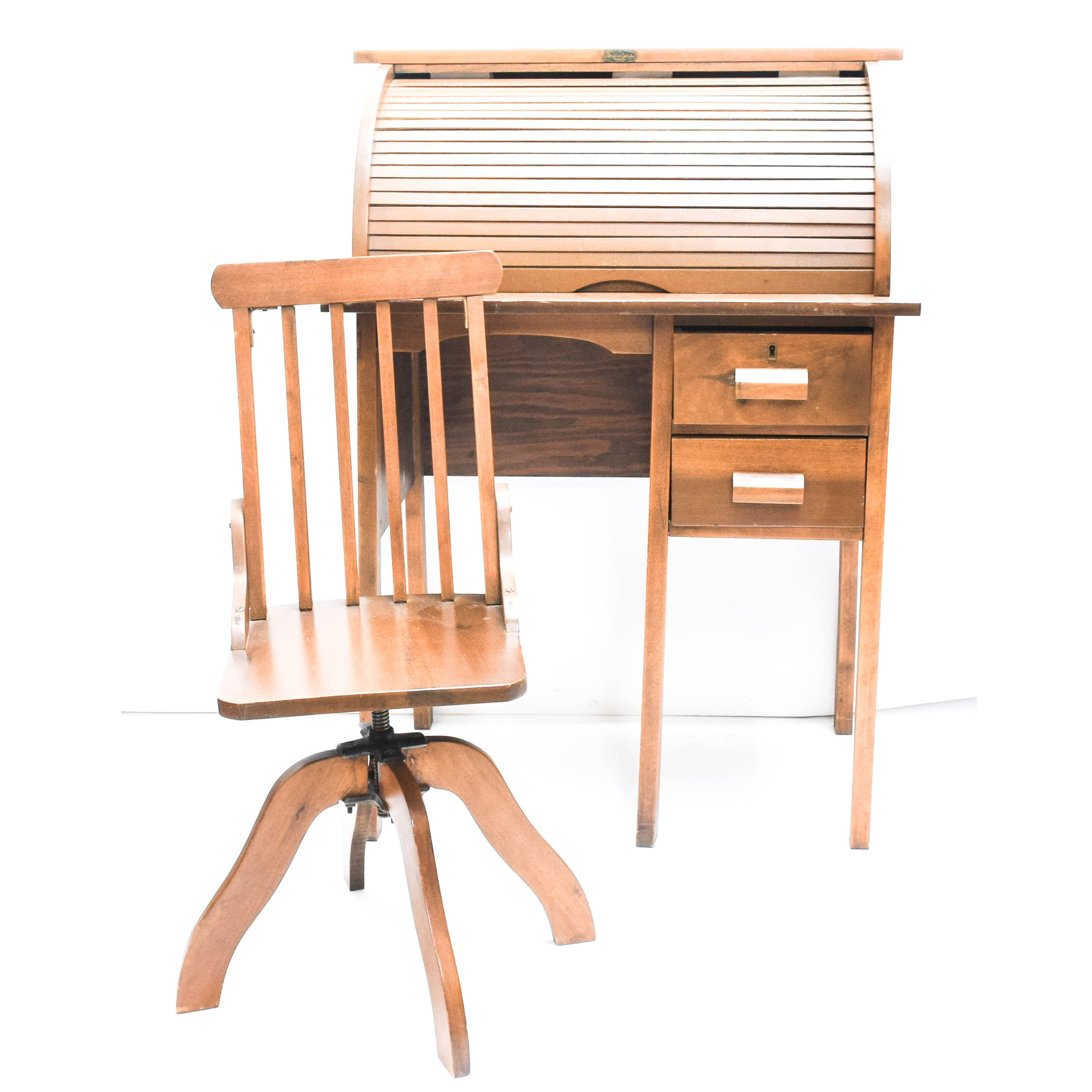 Children's Wooden Roll Top Desk by Steinfeld with Chair