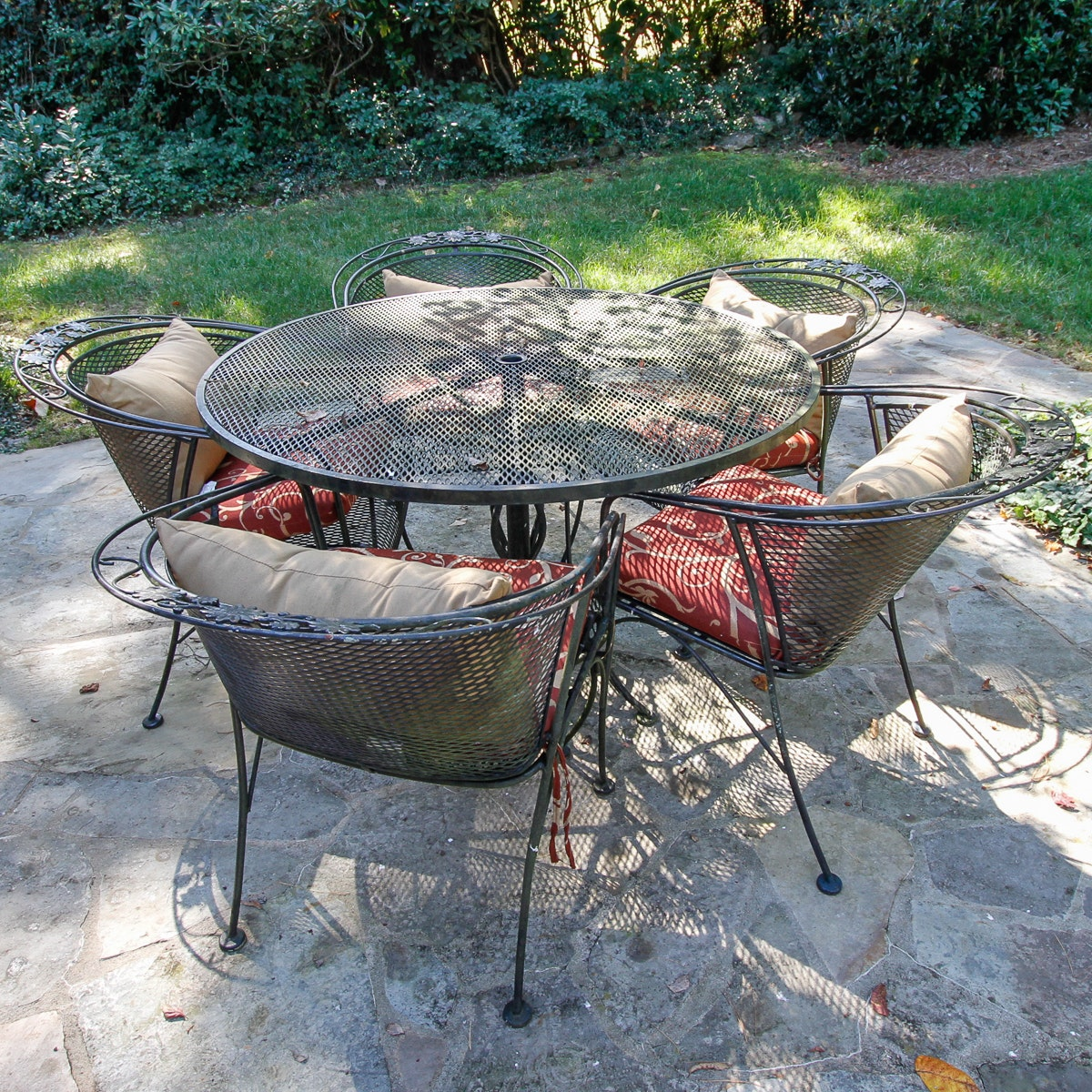 Metal Outdoor Table and Five Chairs