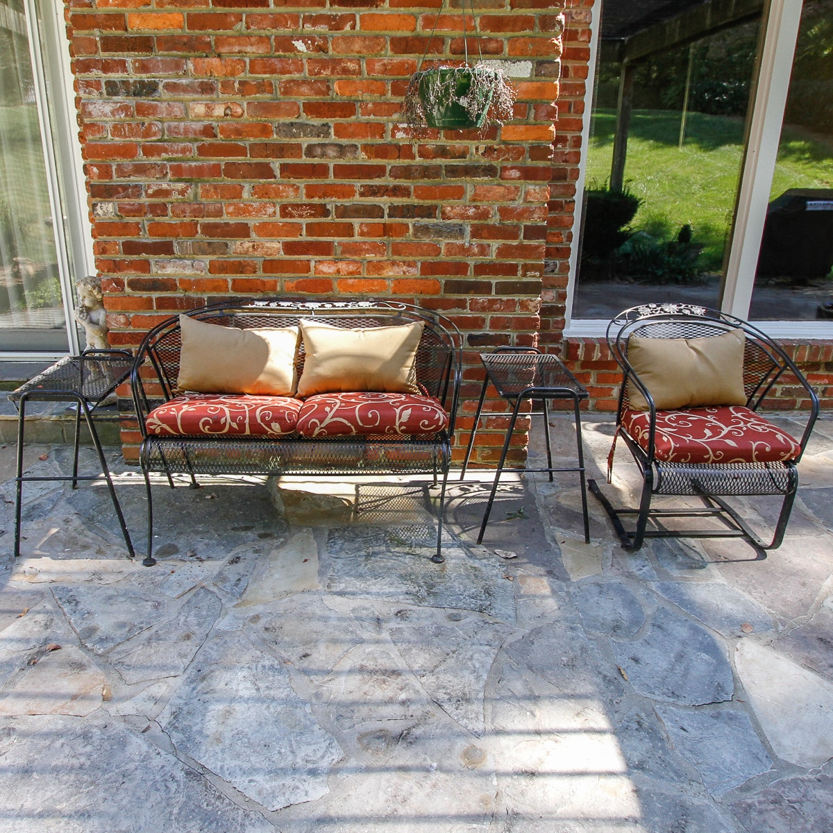 Outdoor Metal Bench, Rocker, and Two Side Tables