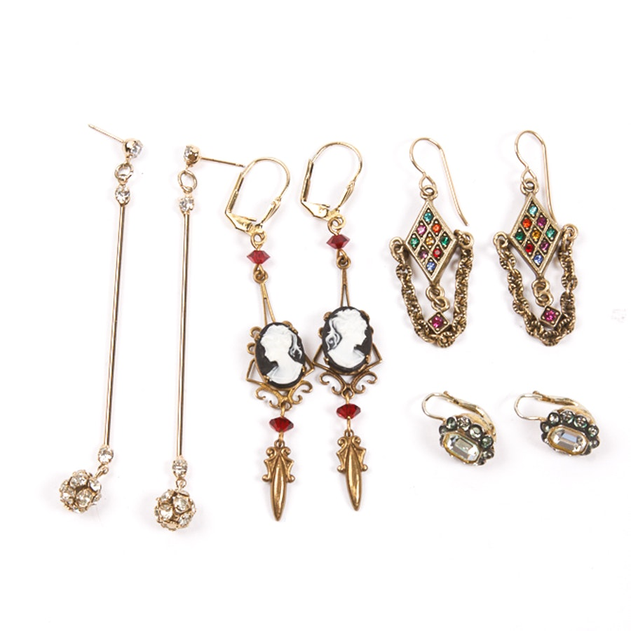 Collection of Costume Earrings with Crystals