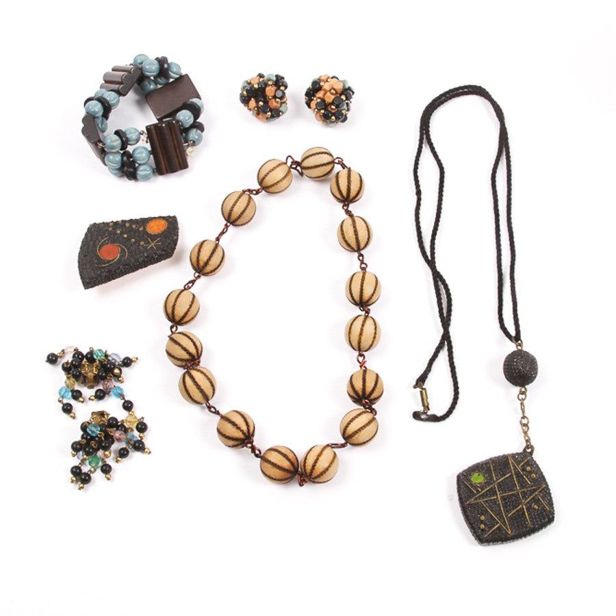 Variety of Wooden Jewelry