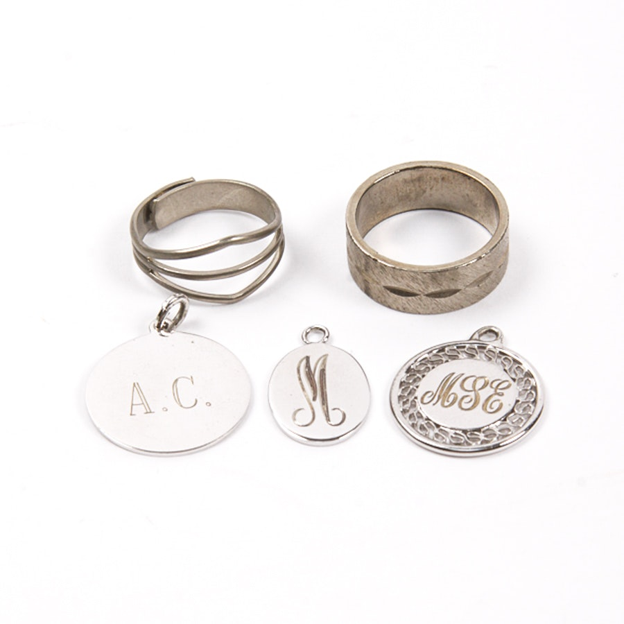 Silver Tone Rings and Charm Medallions