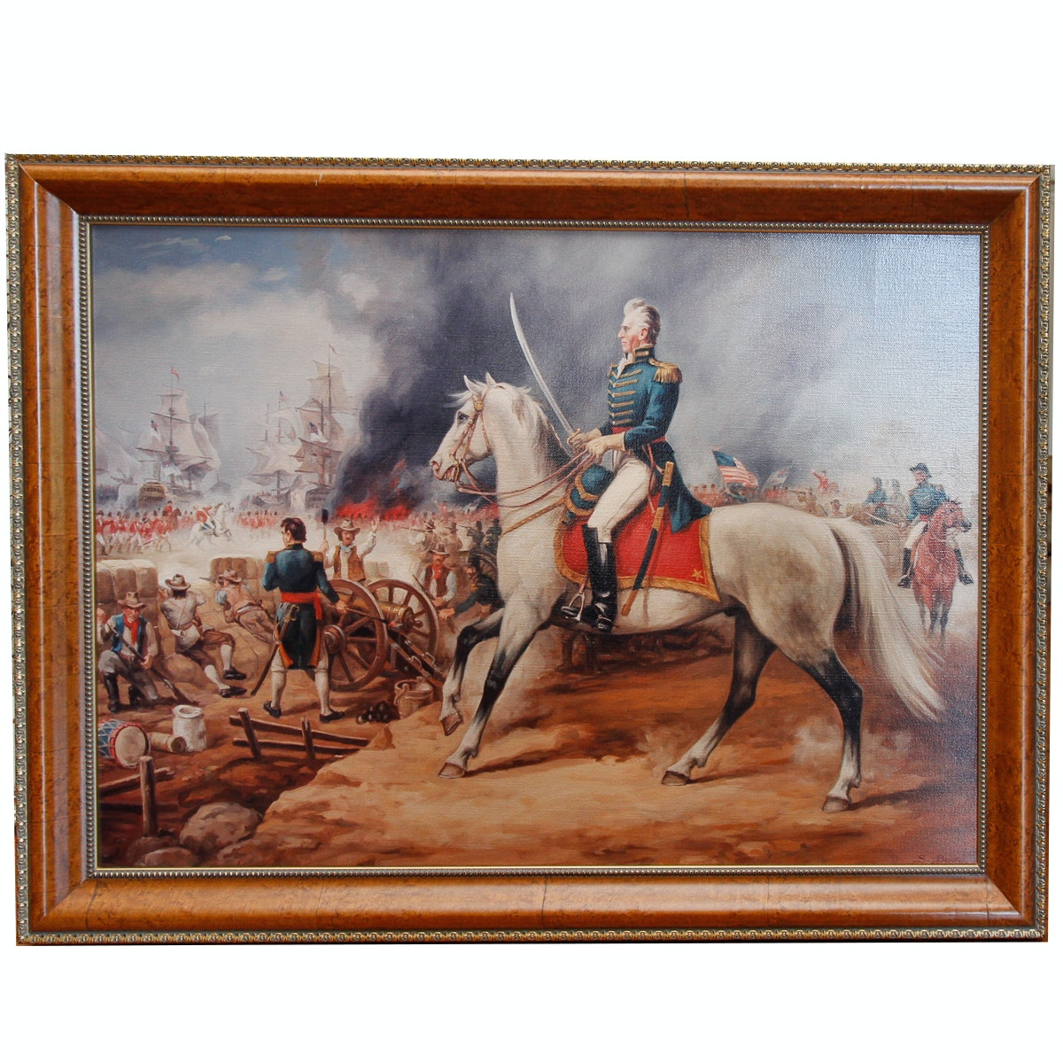 Reproduction Print on Canvas After Sandor Bodo of a Battle Scene