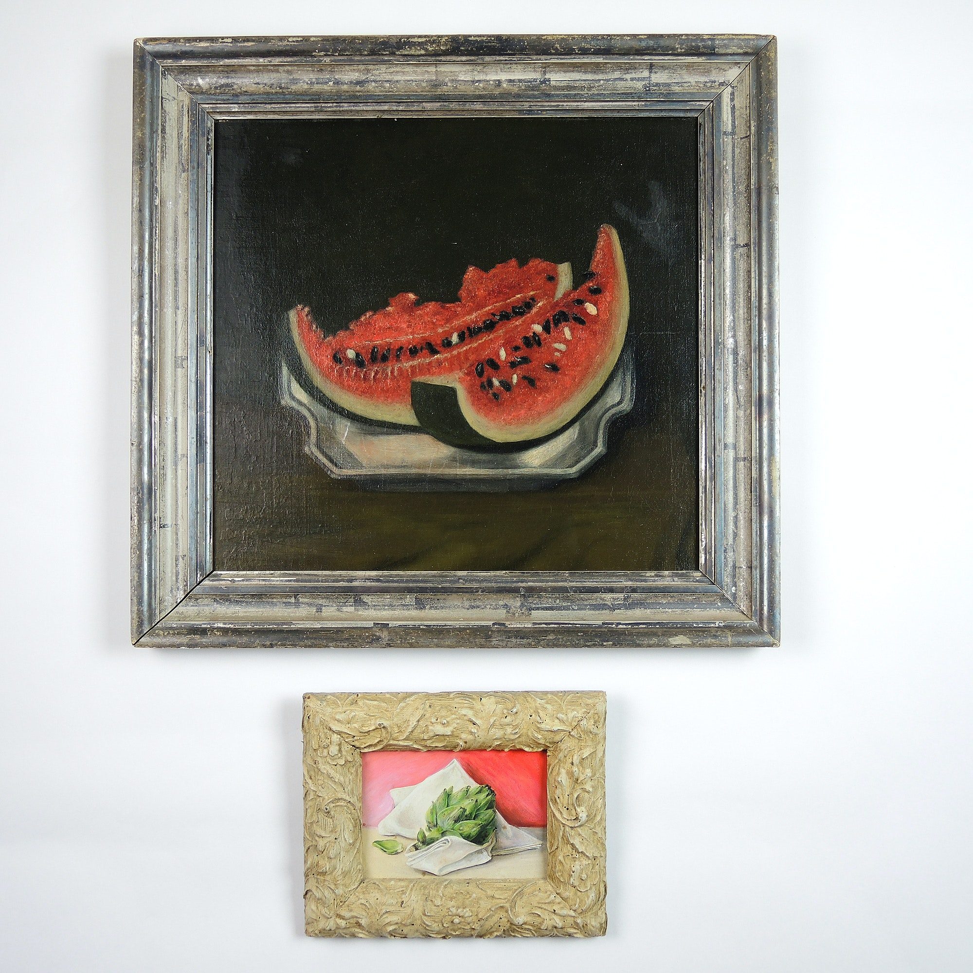 Pair of Still Life Paintings on Board After American Folk Style