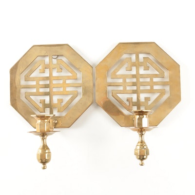 Asian Style Solid Brass Wall Candle Sconces