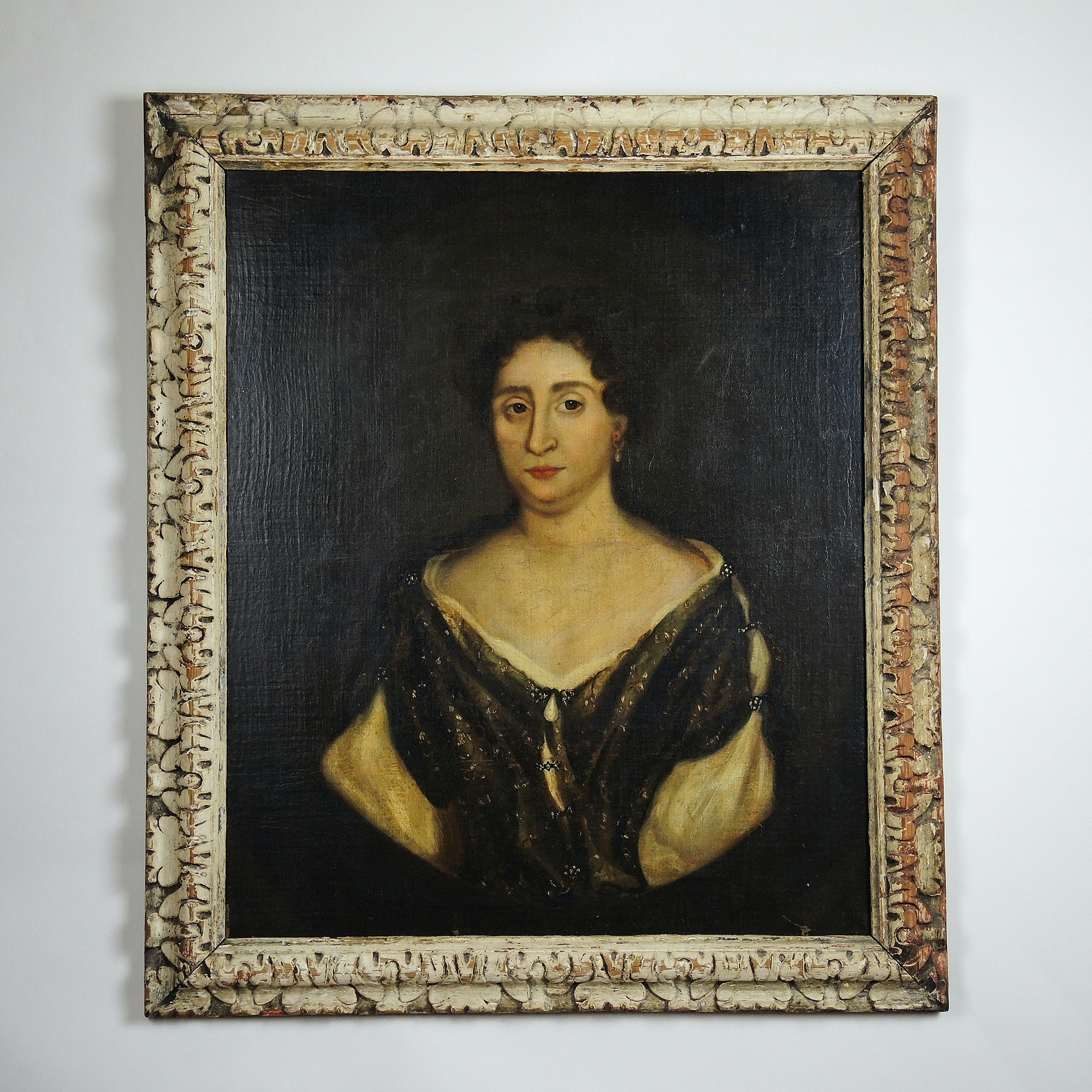 Early 19th Century Oil Painting on Linen Portrait of a Woman with Pearl Brooch