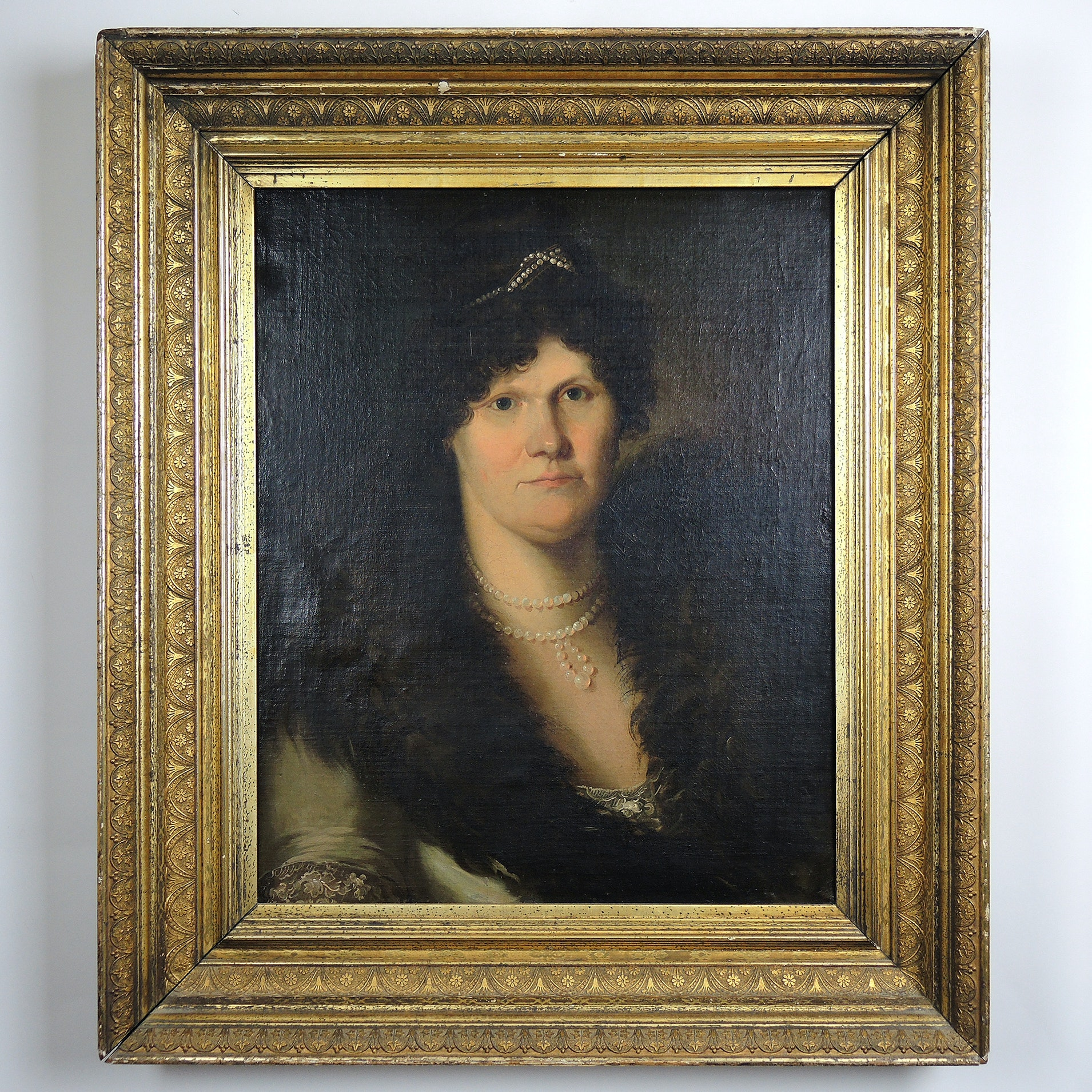 Early 19th Century Oil Painting on Linen Portrait of Lady with Feather Stole