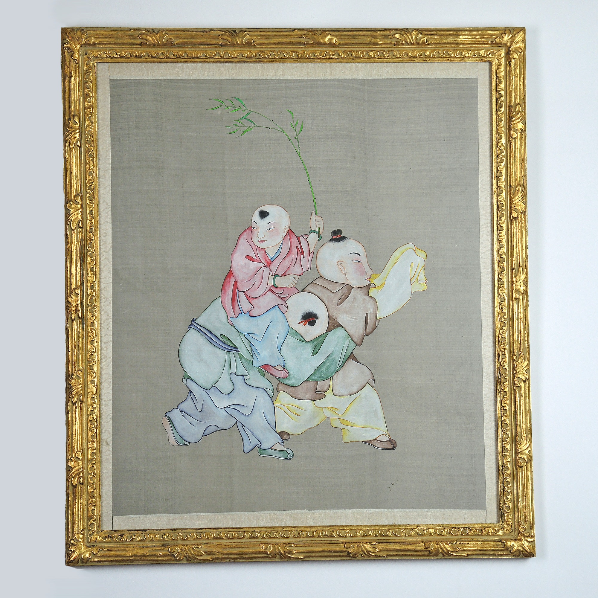 Early 20th Century Japanese Tempera Painting on Silk