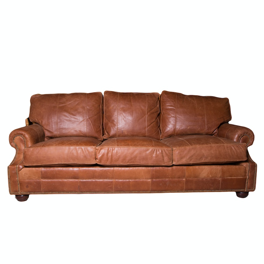 lexington furniture cognac leather couch ebth. Black Bedroom Furniture Sets. Home Design Ideas