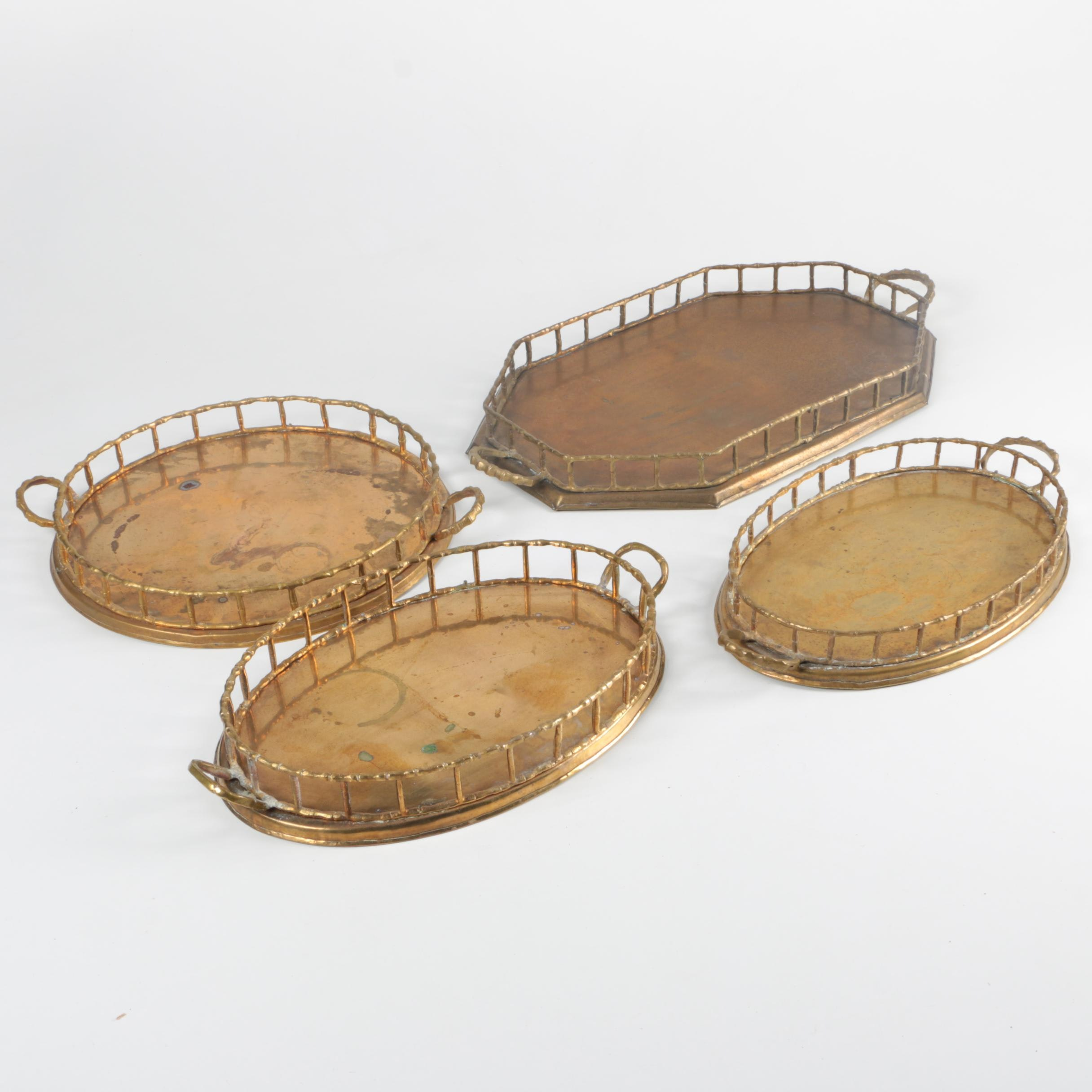 Mid Century Brass Serving Trays with Bamboo Inspired Rails