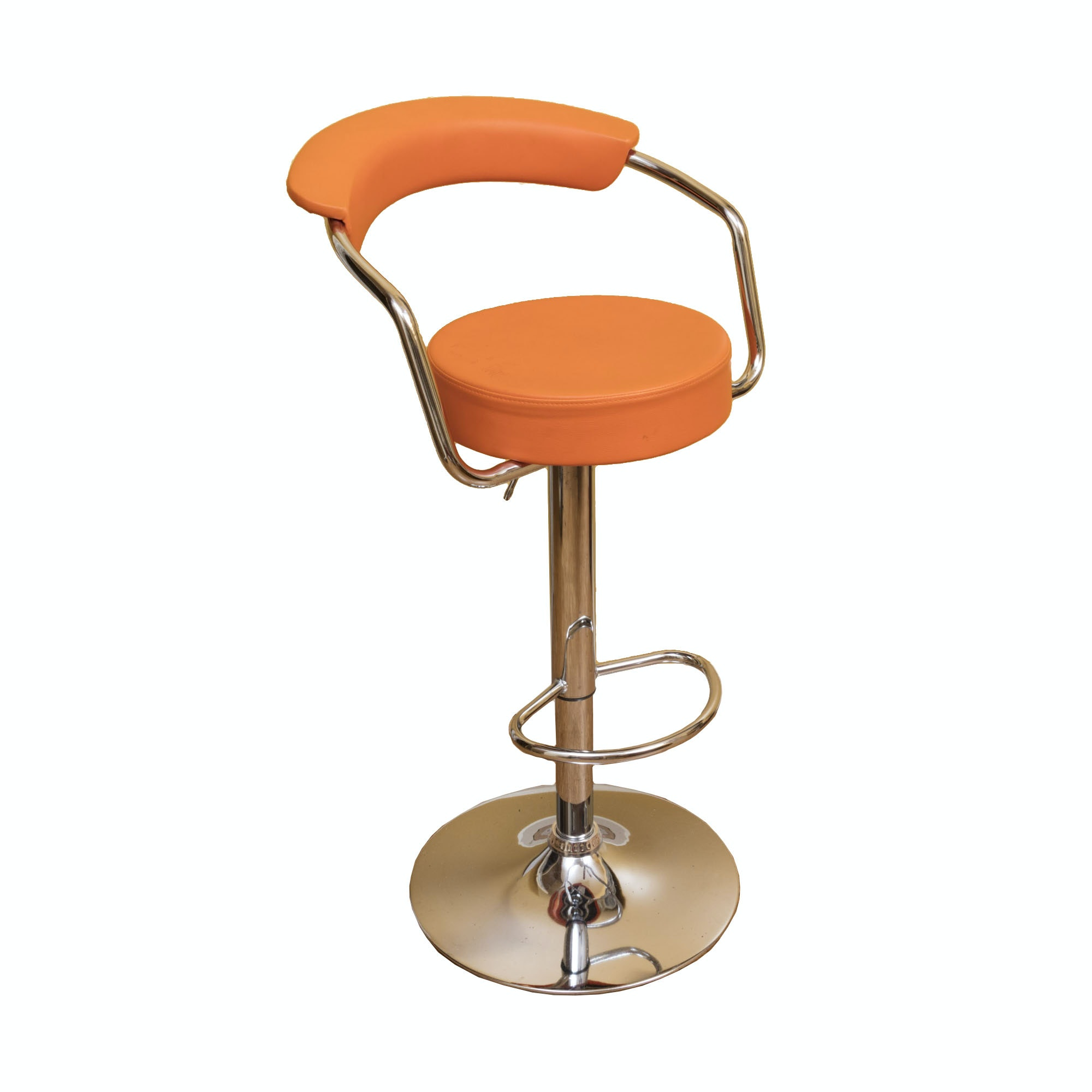 Orange Vinyl Bar Stool by ZheJiang Chairman Furniture