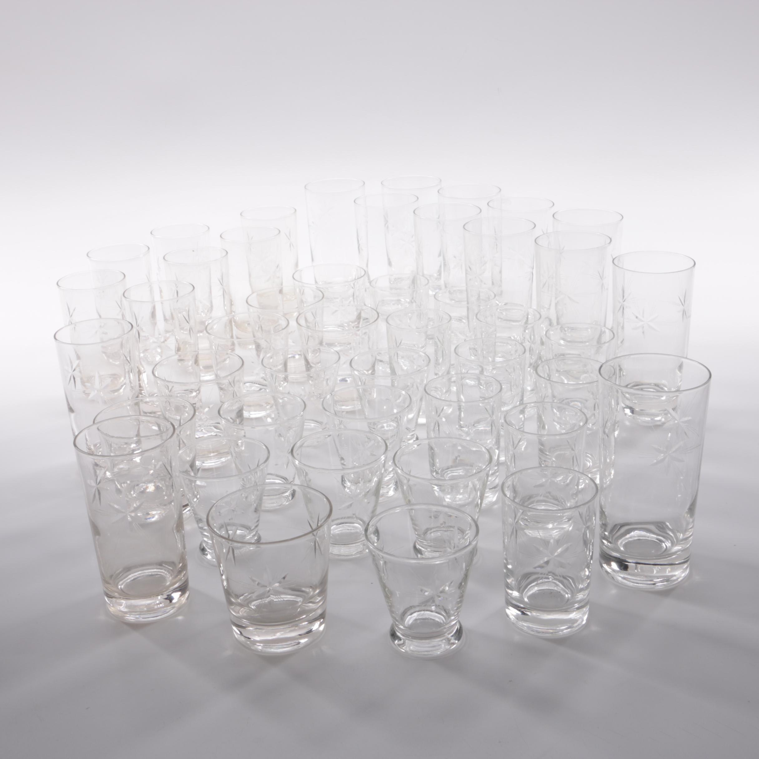 Mid Century Modern Style Star Patterned Glassware