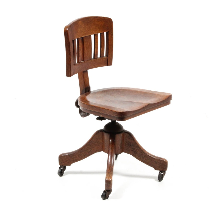 Vintage Oak Child's Office Chair ... - Vintage Oak Child's Office Chair : EBTH