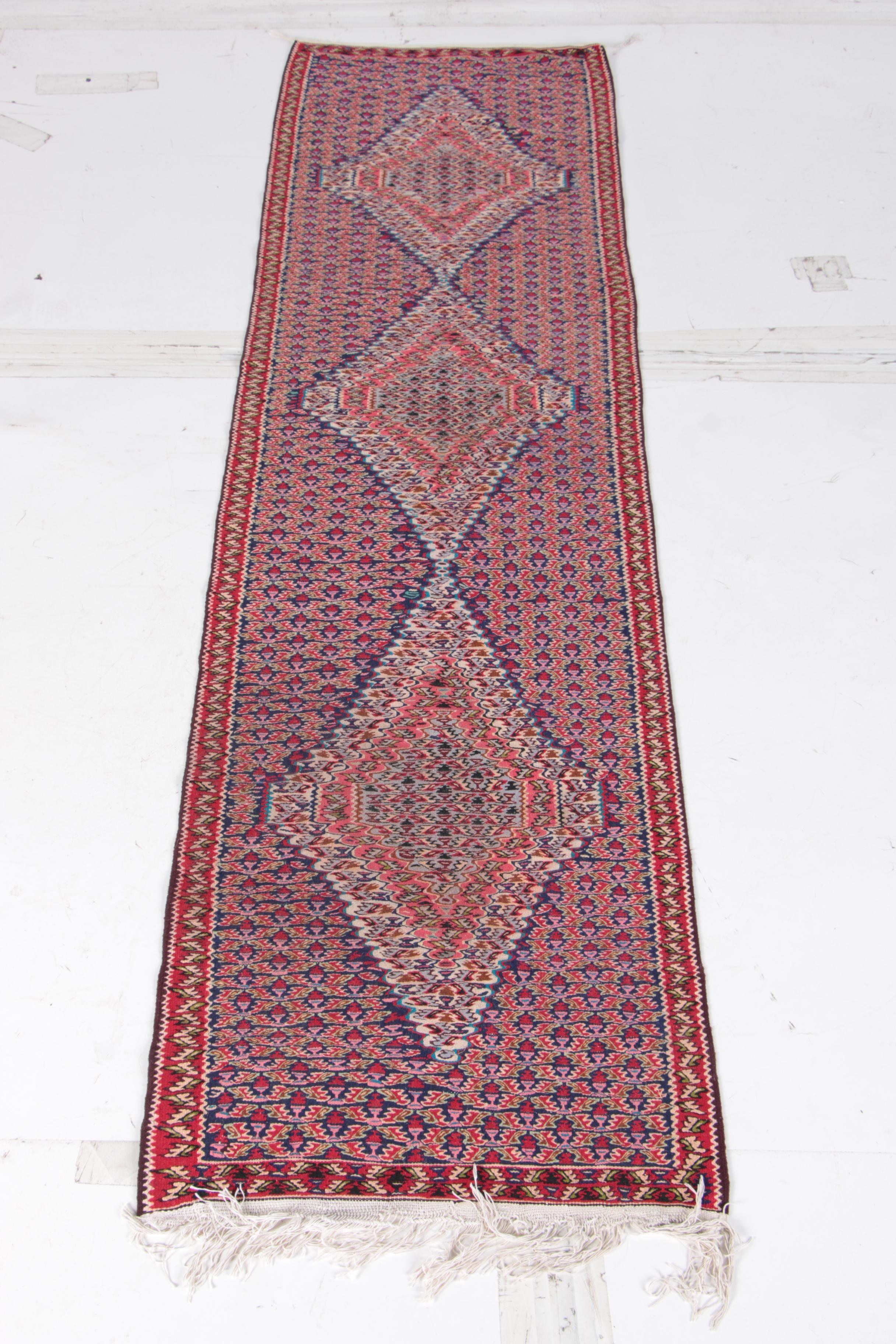 Handwoven Anatolian Afyon Soumak Wool Runner