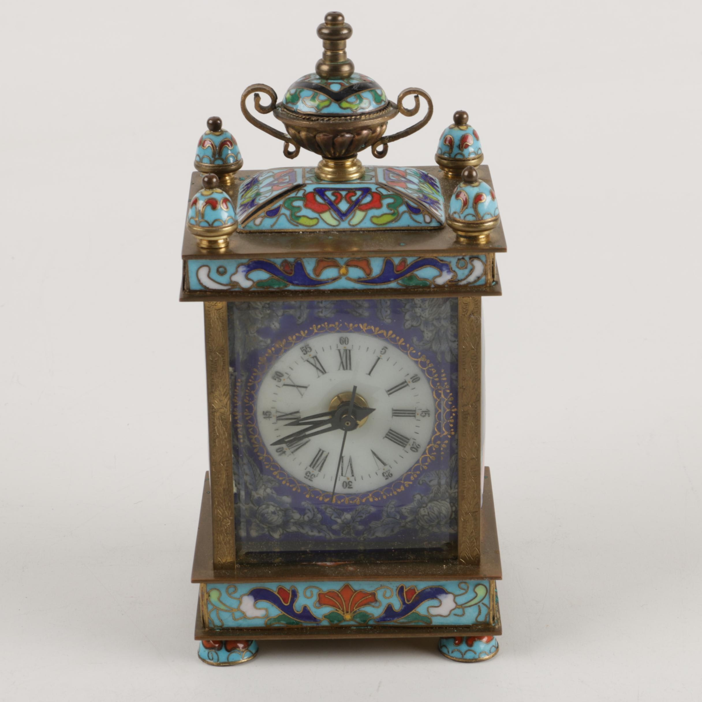 French Style Cloisonné Carriage Clock