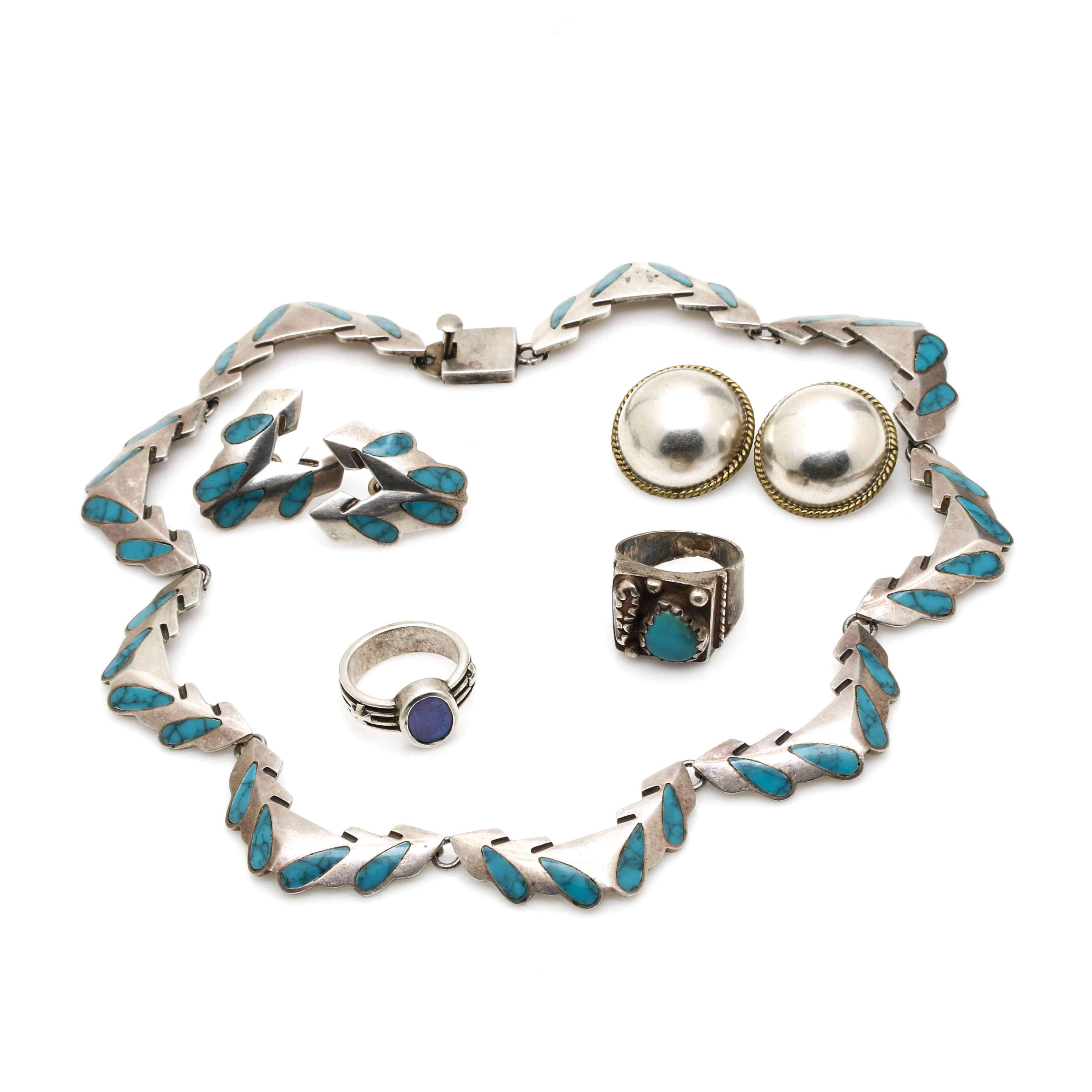 Miguel Garcia Modernist Mexico Sterling Demi Parure and Additional Jewelry