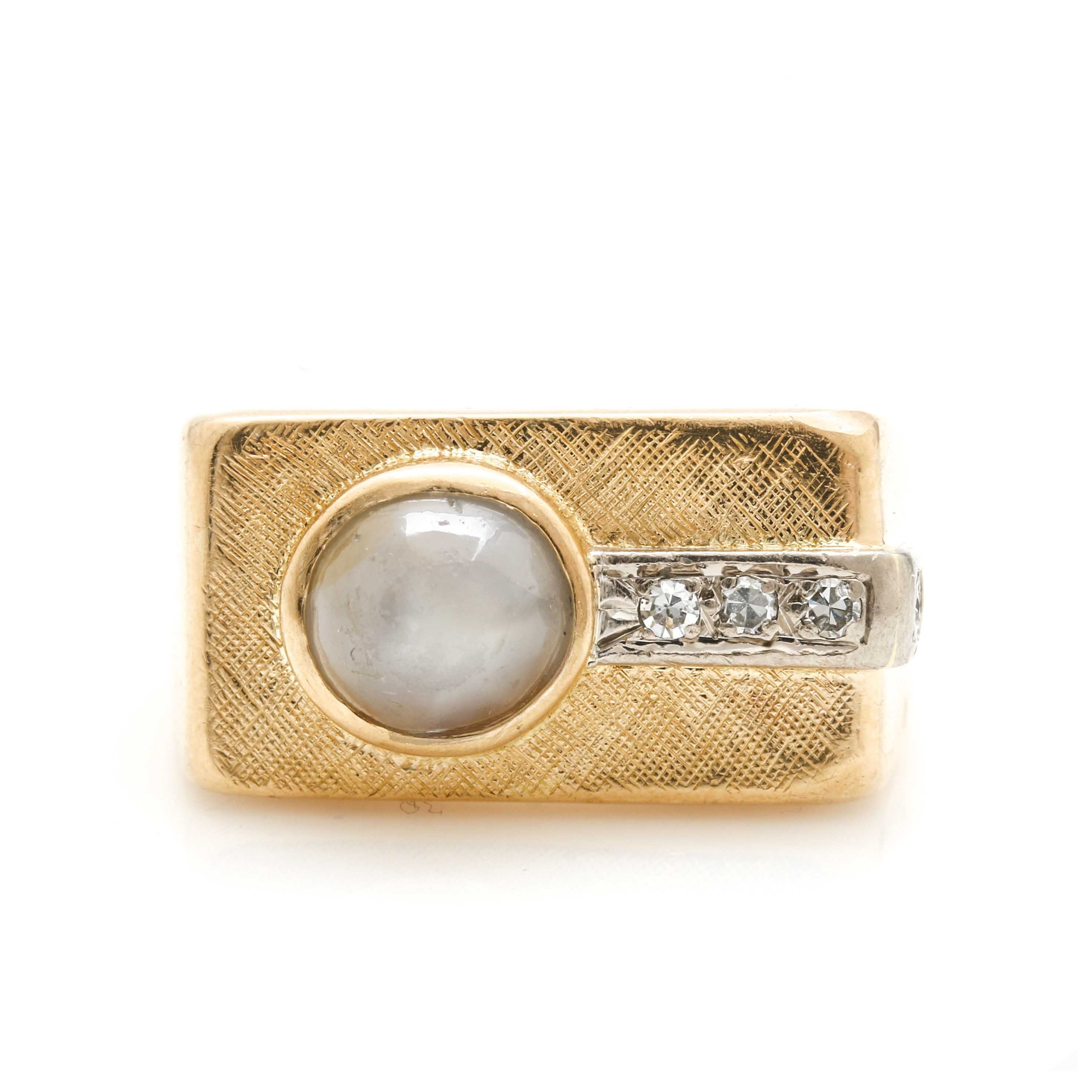 18K Yellow Gold Star Sapphire and Diamond Ring