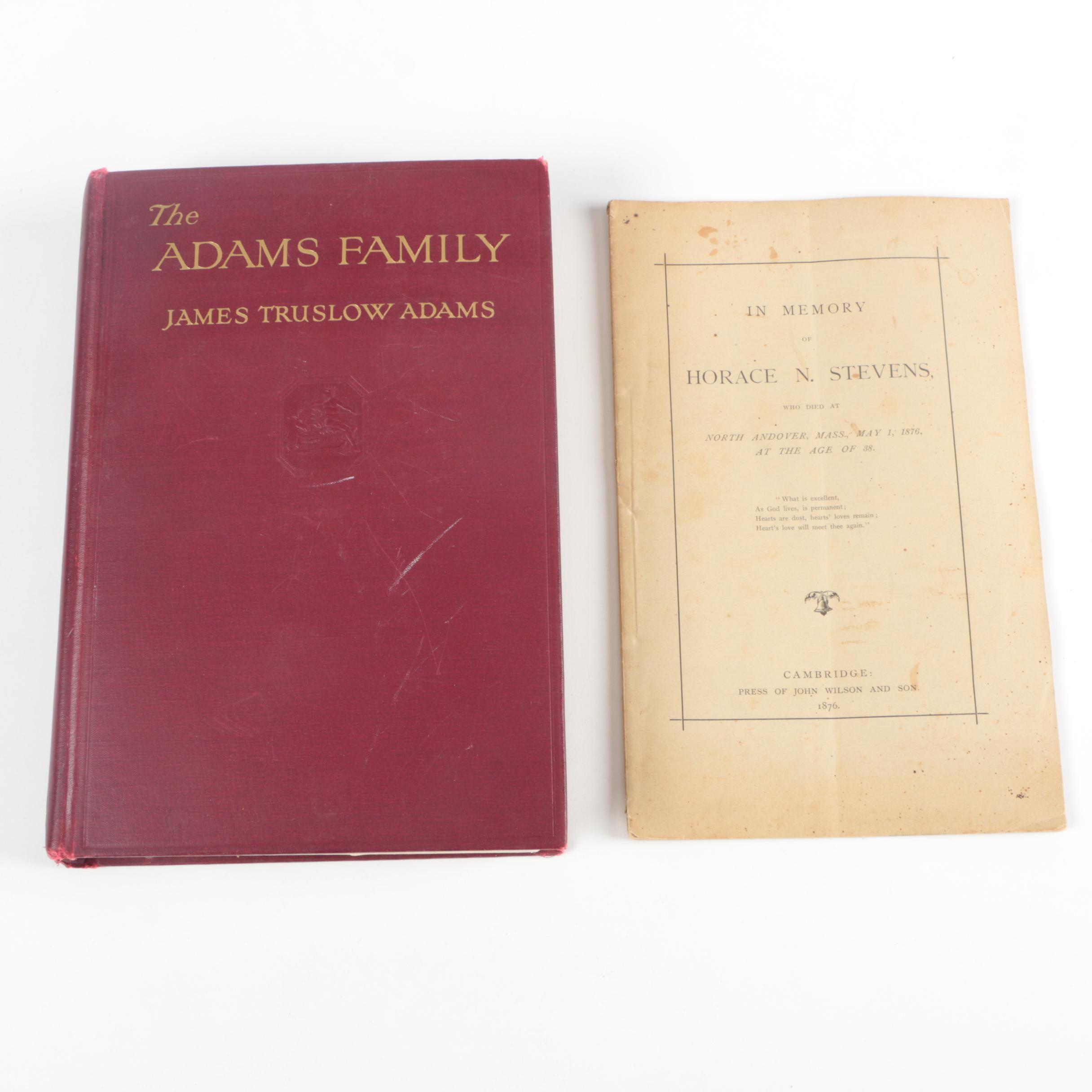Vintage  Adams Biography and Antique Funeral Program
