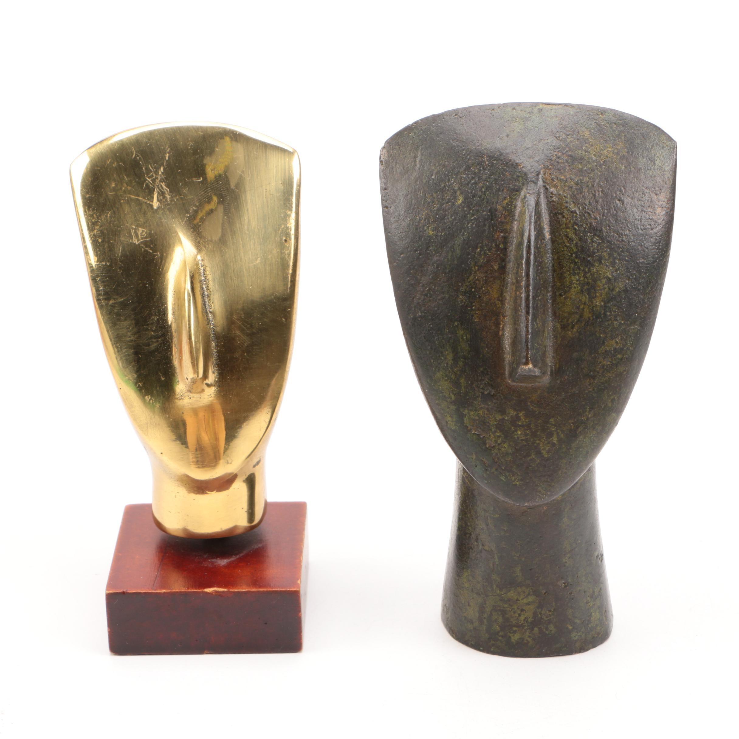 Brass and Bronze Head Sculptures