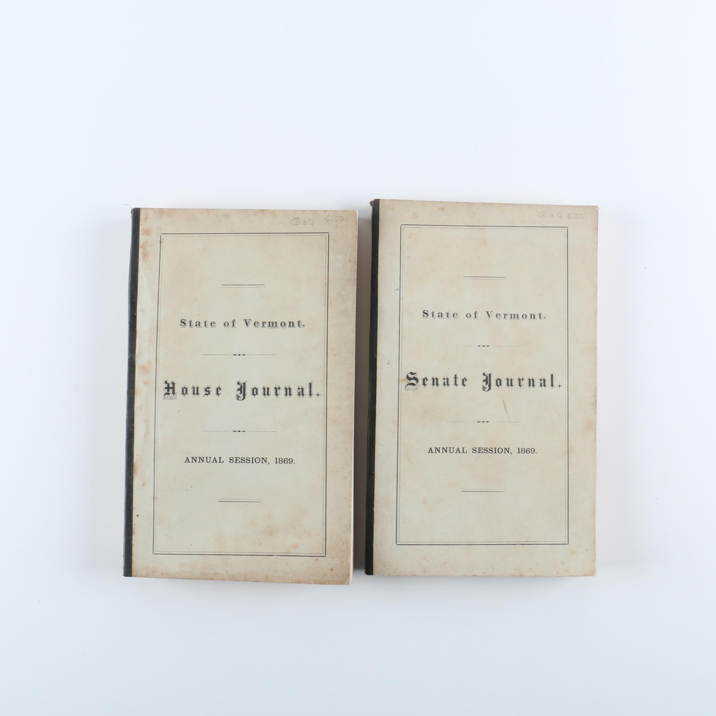 1869 Vermont House Journal and Senate Journal