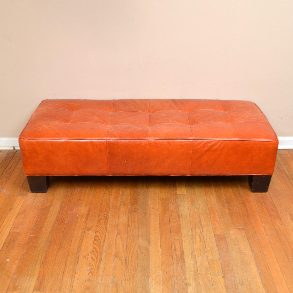 Vintage Orange Leather Bench
