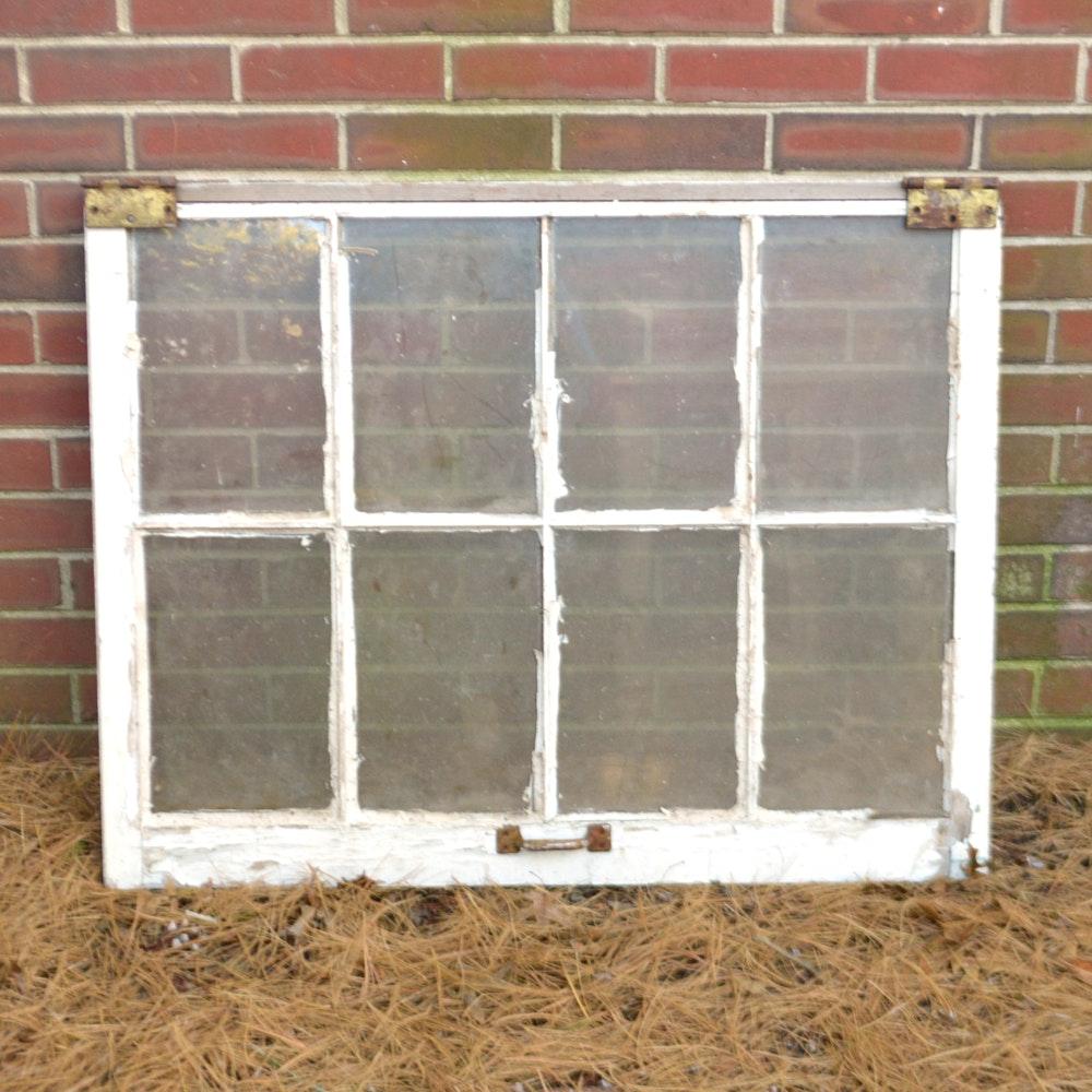 Vintage Wood-Framed Double-Hung Window Pane