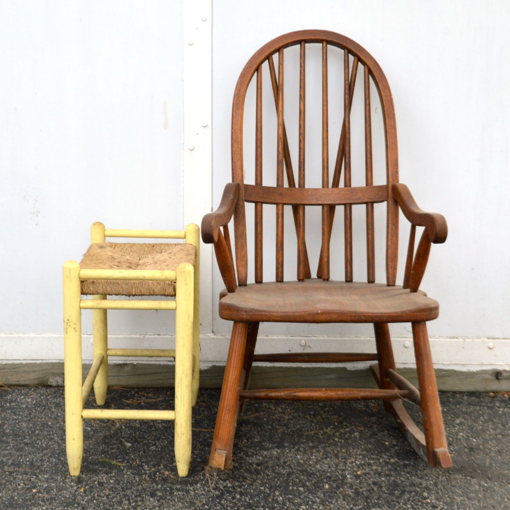 Oak Rocking Chair and Painted Stool