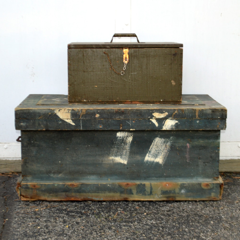 Pair of Wooden Tool Boxes and Tool Assortment