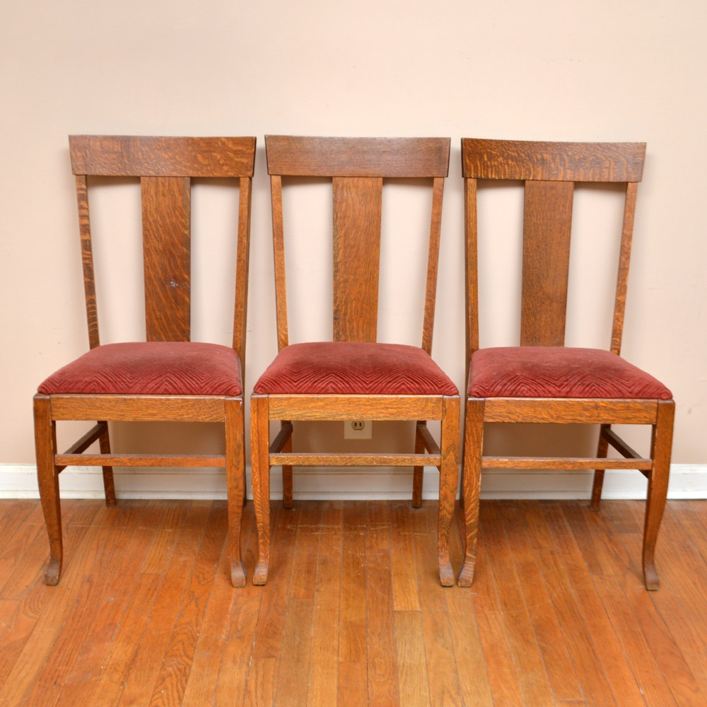 Three Antique American Quartersawn Oak Side Chairs