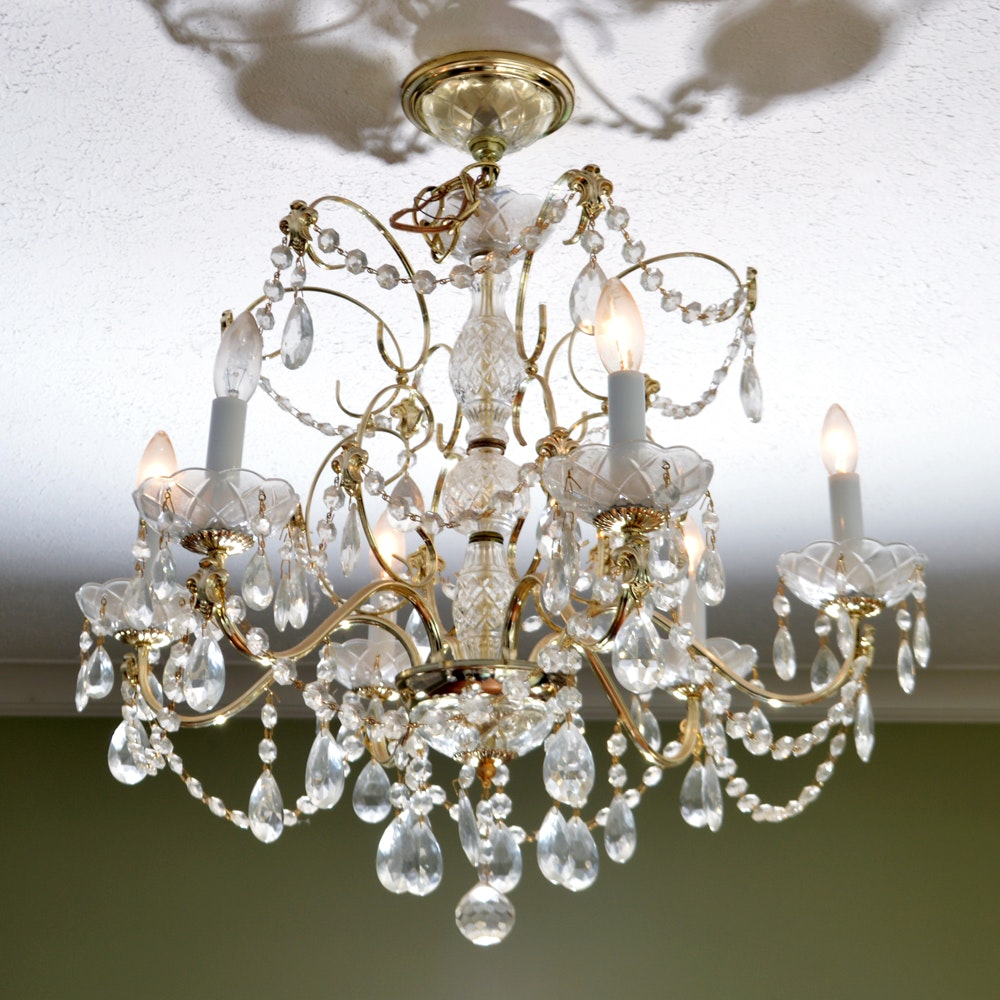 Vintage Ornate Brass and Glass Chandelier
