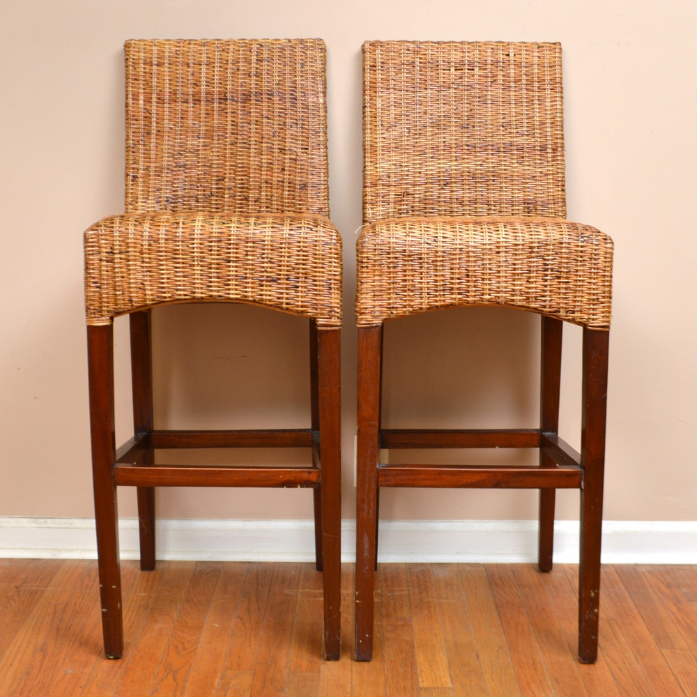 Pair of Wicker and Wood Barstools