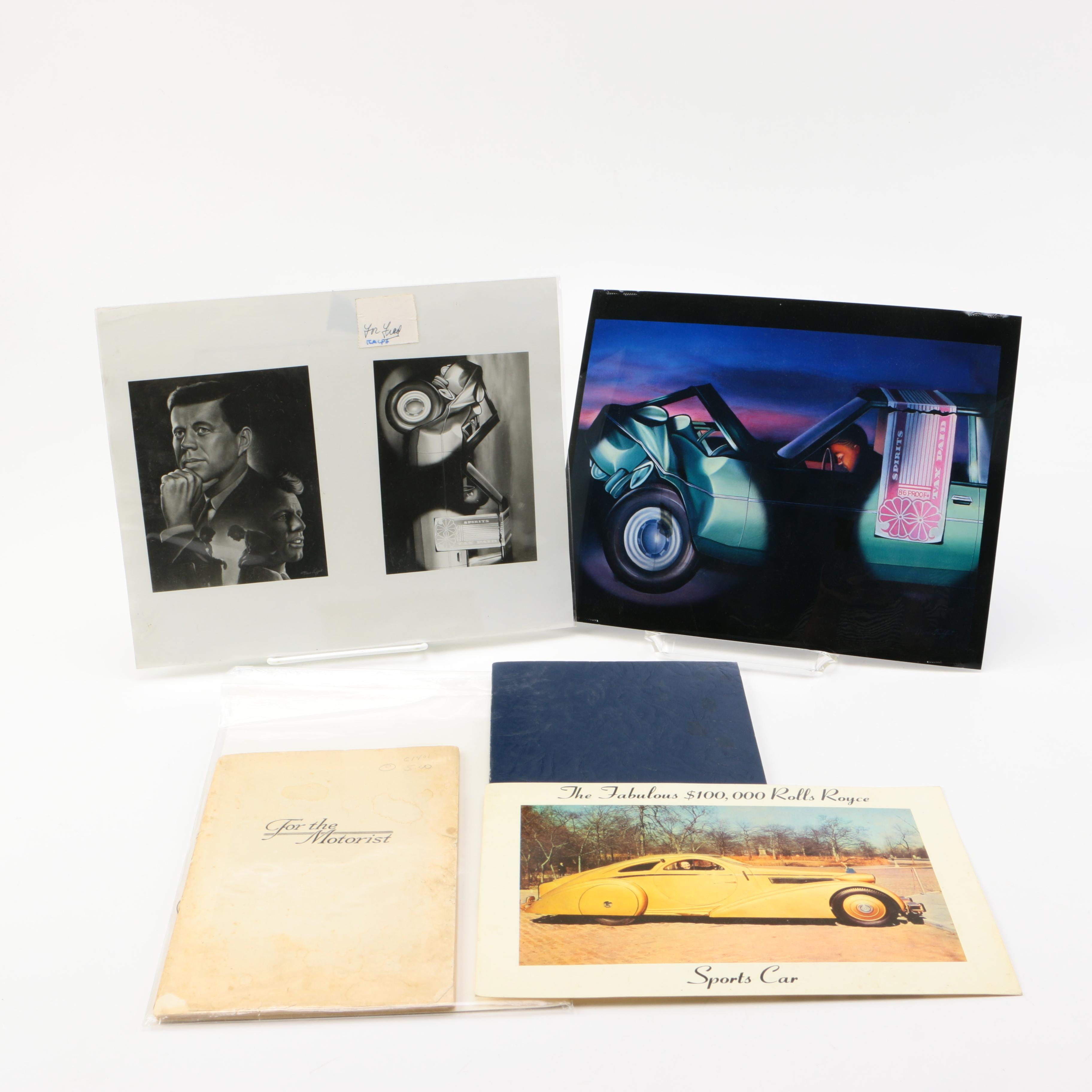 Automobile Themed Booklets, Prints And Postcard