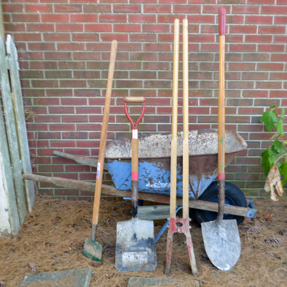 Wheelbarrow and Tool Assortment