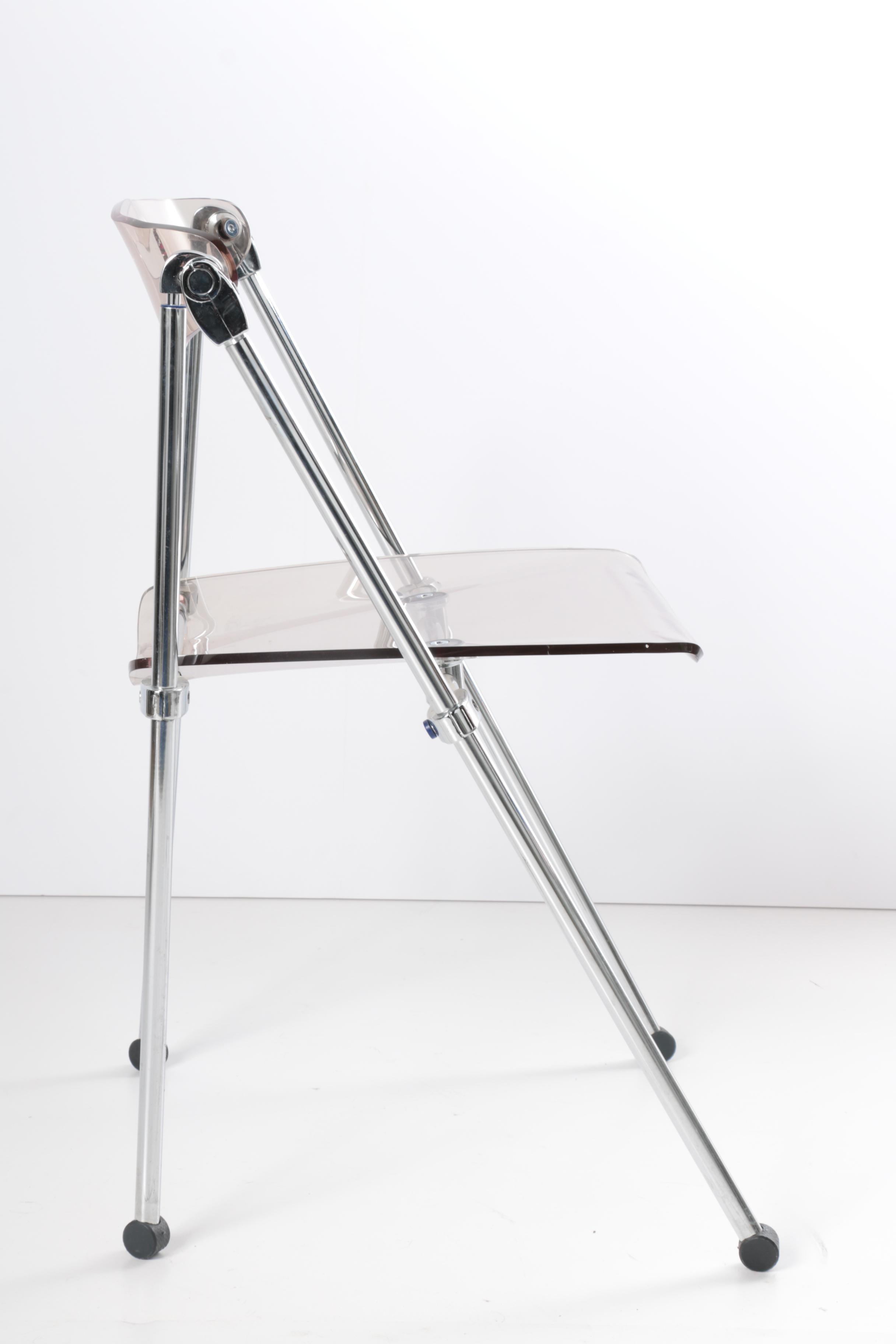 Pair Of Contemporary Modern Folding Acrylic Chairs Ebth