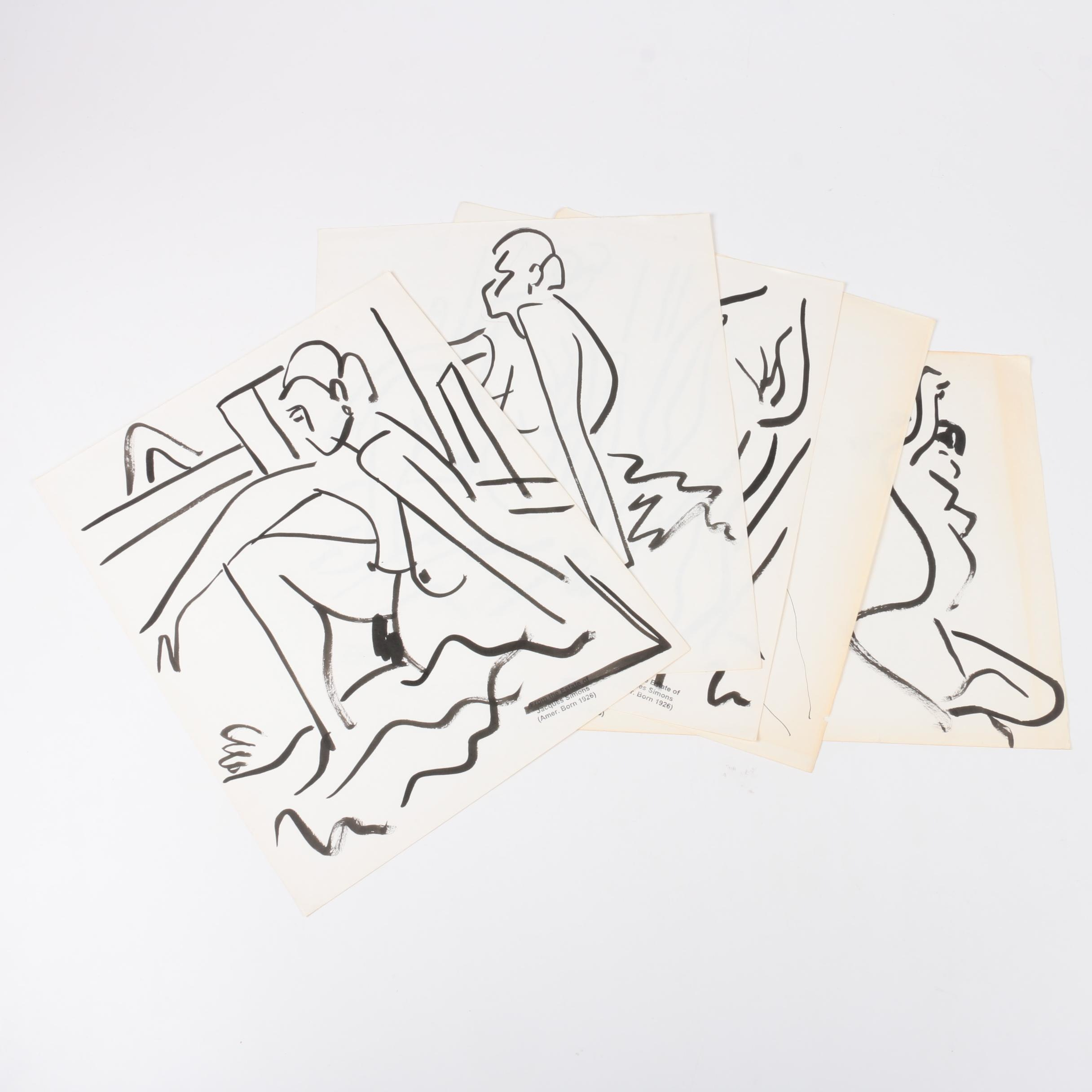 Jacques Simons Ink Paintings of Figure Studies