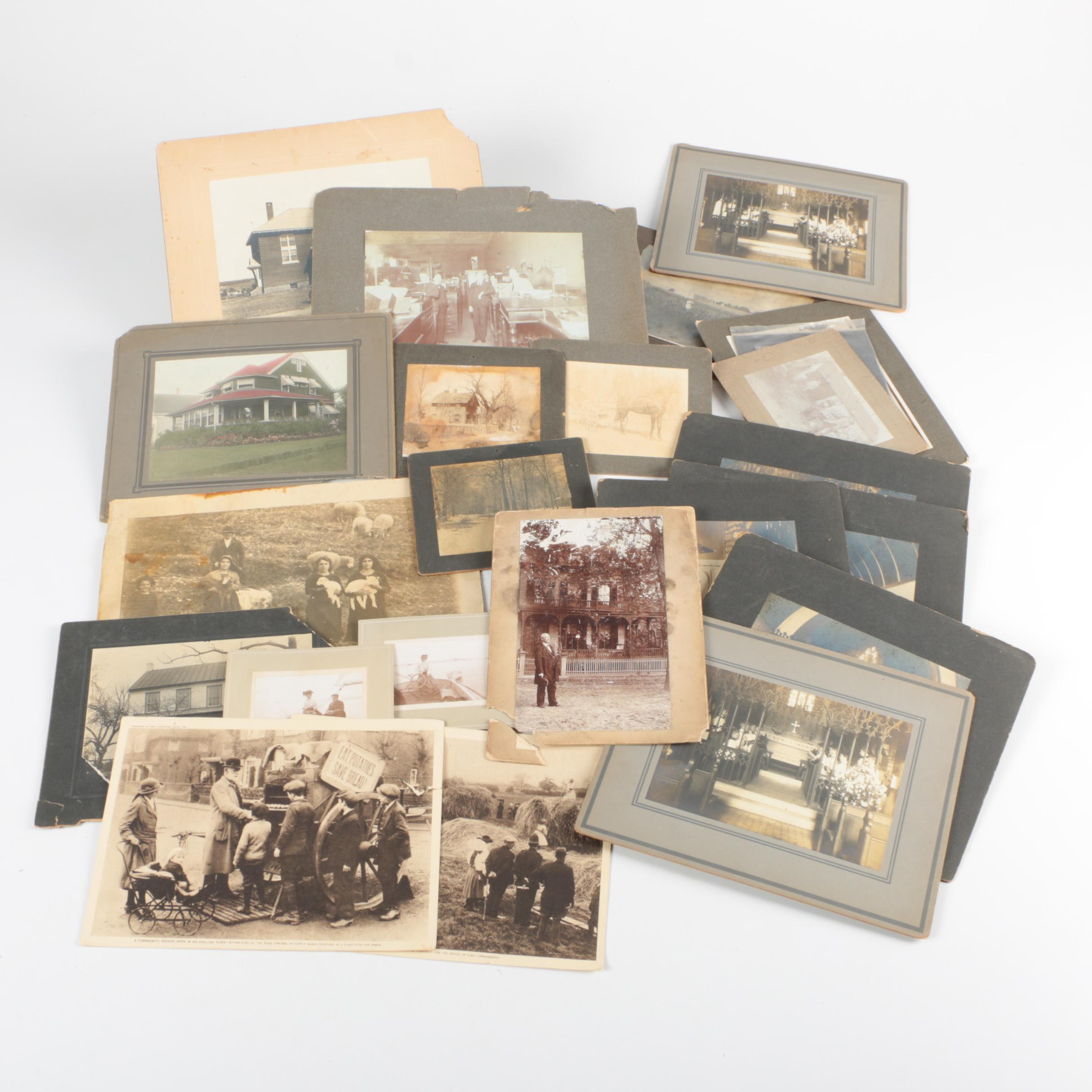 Vintage Photographs of Houses and Groups of People