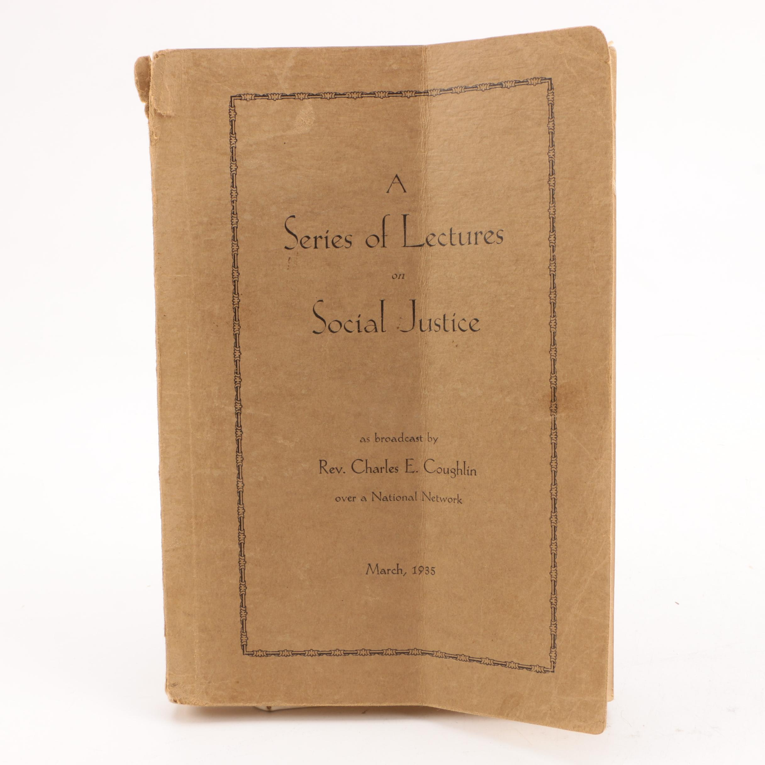 "1935 ""A Series of Lectures on Social Justice"""