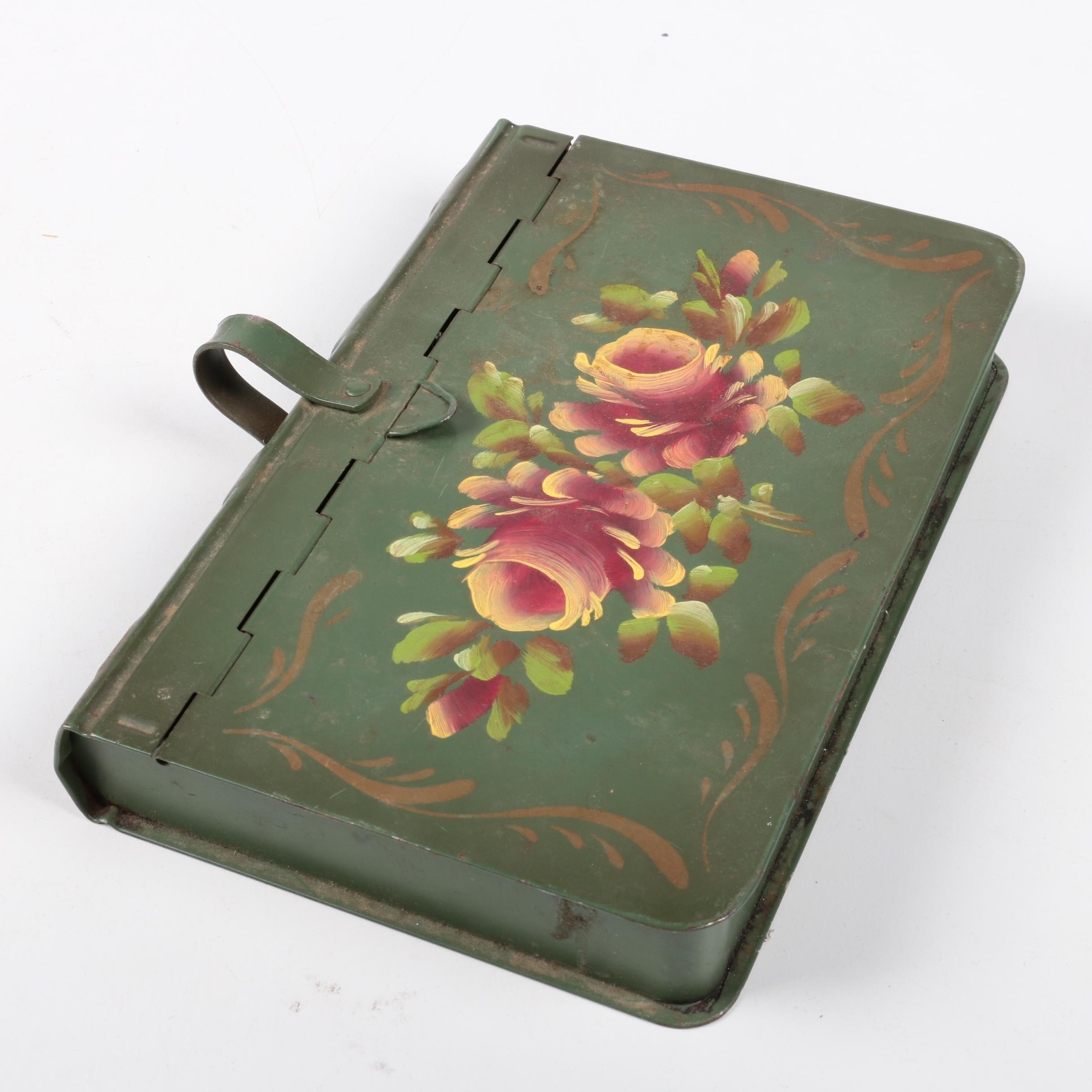 Green Metal Book Shaped Storage Box