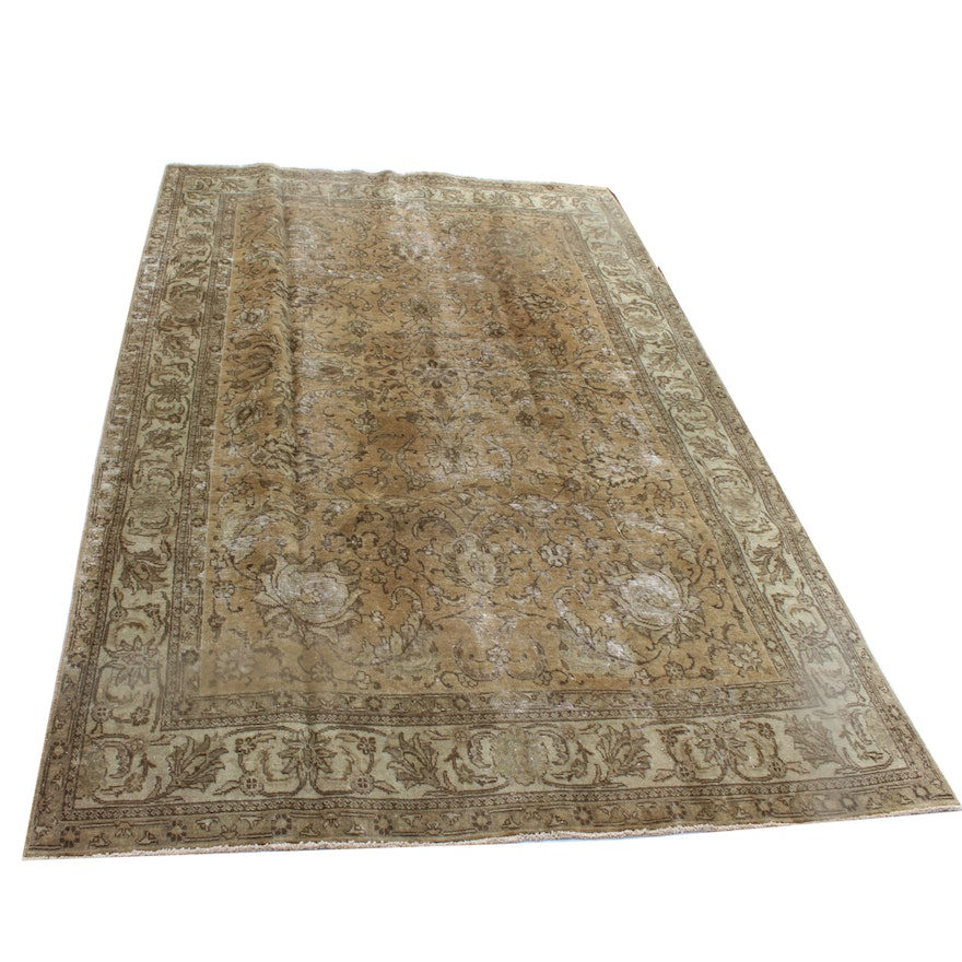 Hand-Knotted Antique Persian Tabriz Rug