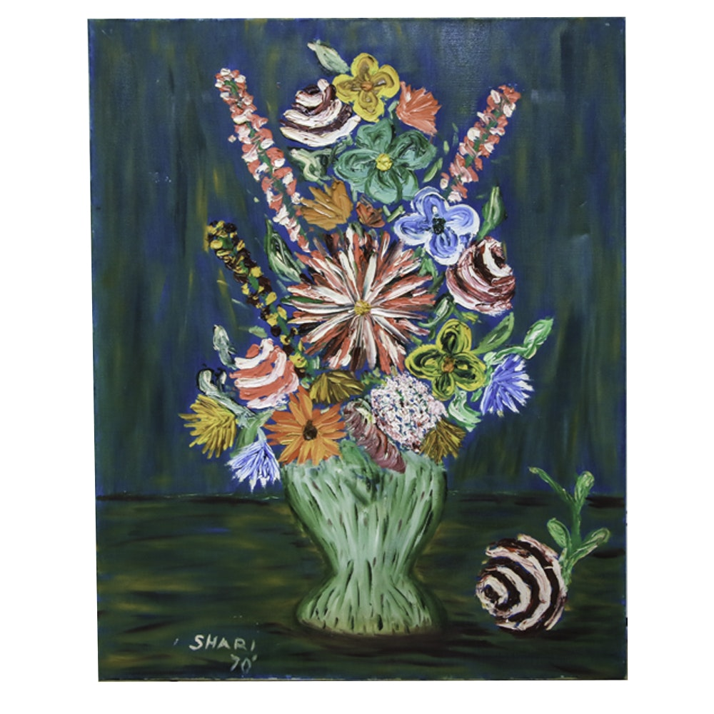 Oil on Canvas Still Life of Flowers in Vase