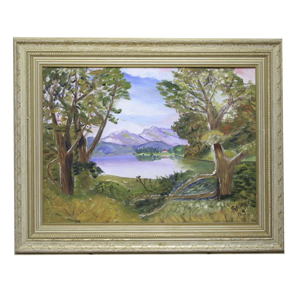 Oil on Canvas Painting of Mountain Lake